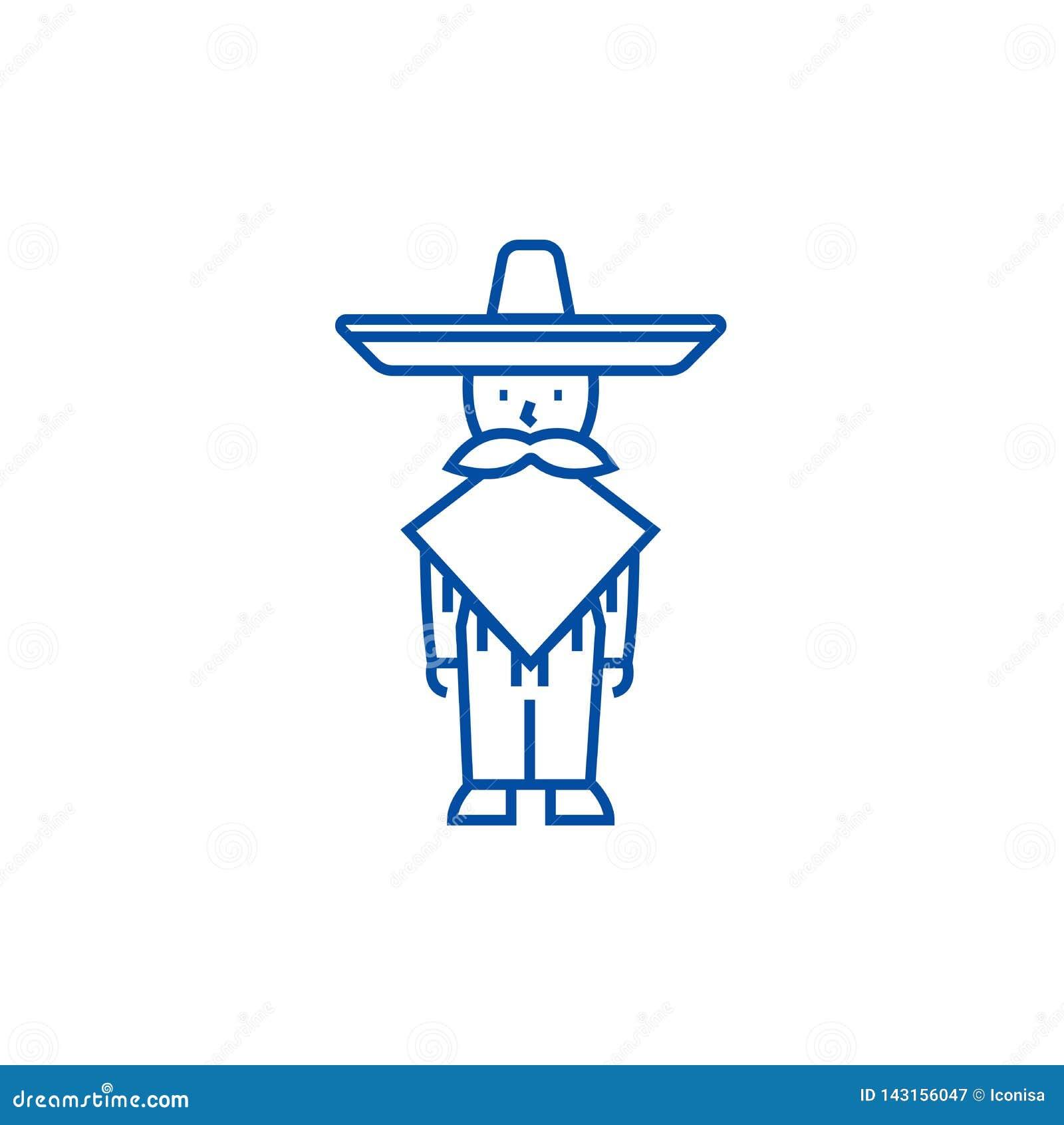 Hombre mexicano, línea concepto del mariachi del icono Hombre mexicano, símbolo plano del vector del mariachi, muestra, ejemplo d