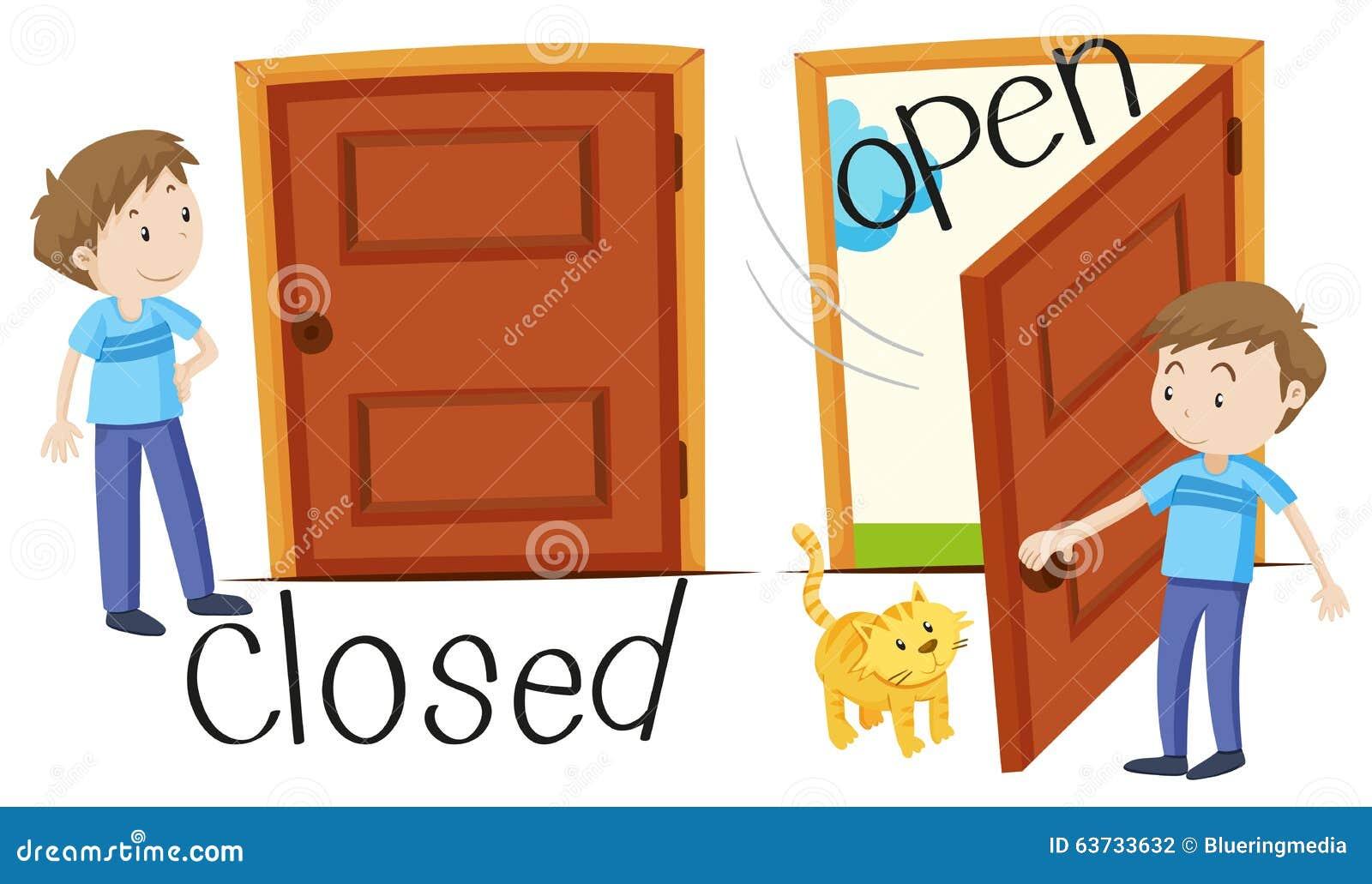 Hombre por la puerta cerrada y abierta ilustraci n del for Puerta en ingles