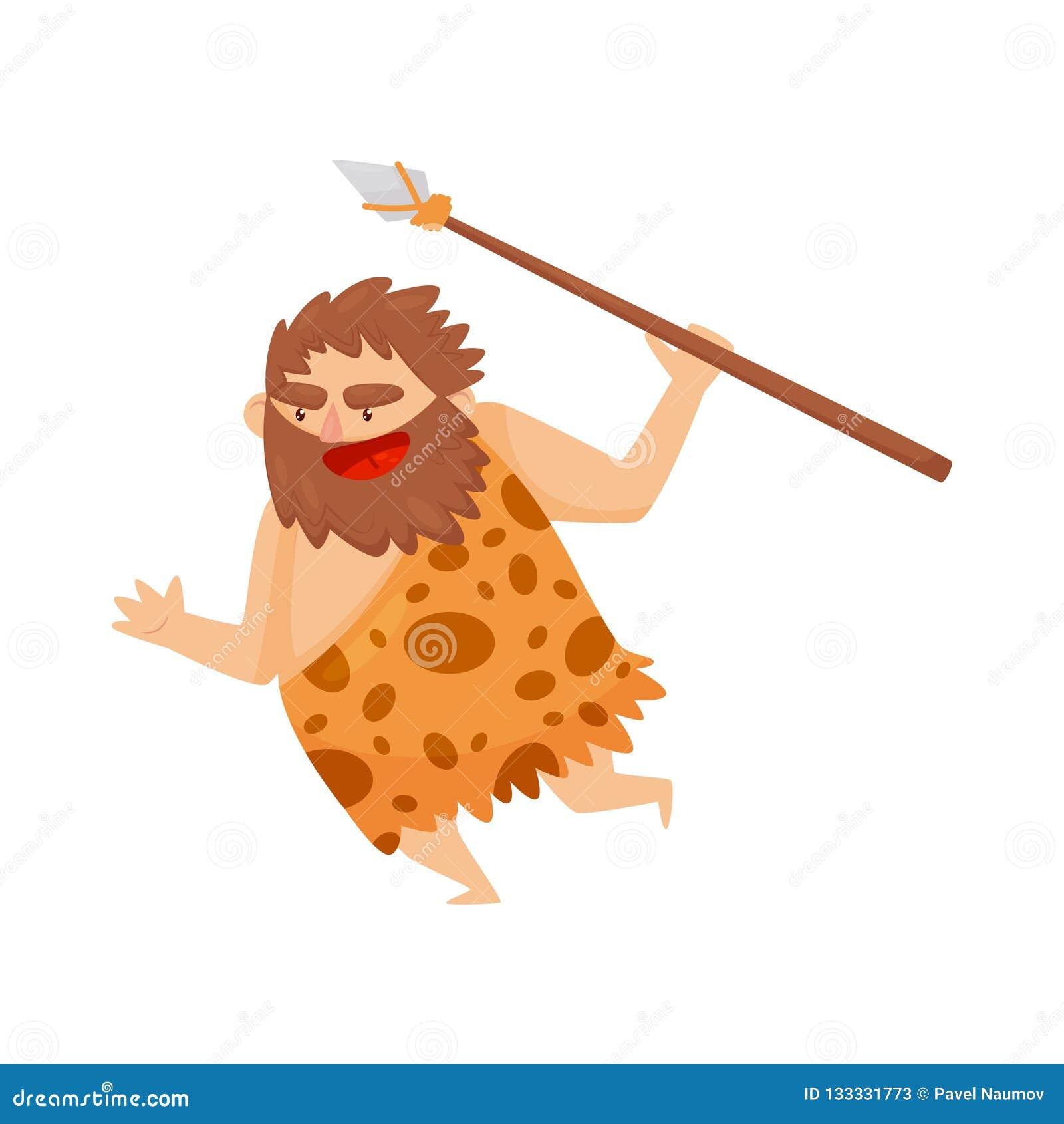 Hombre prehistórico de la Edad de Piedra divertida que corre con la lanza, ejemplo primitivo del vector del personaje de dibujos