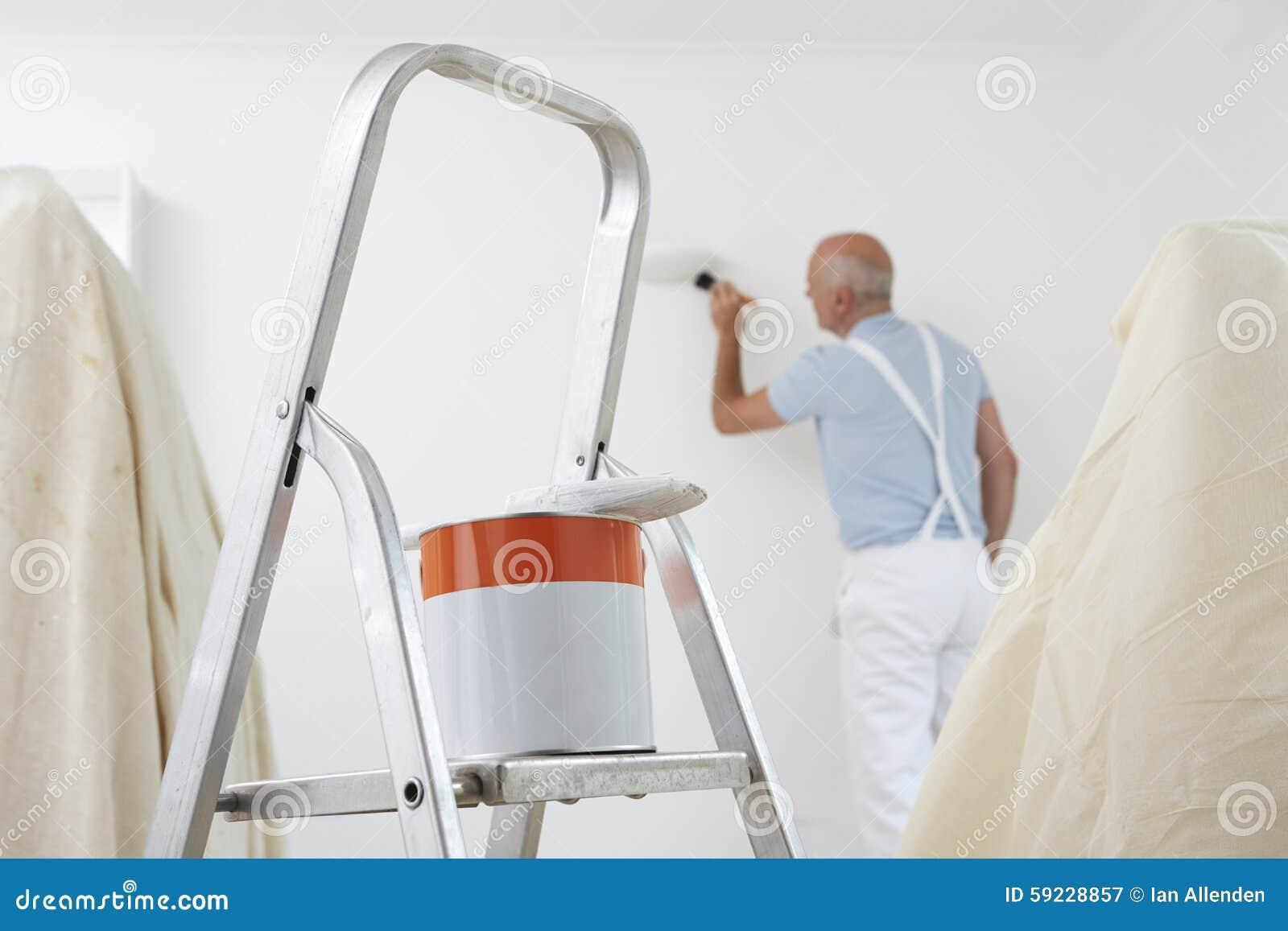 Hombre que adorna el sitio con la poder de la pintura y del cepillo en primero plano