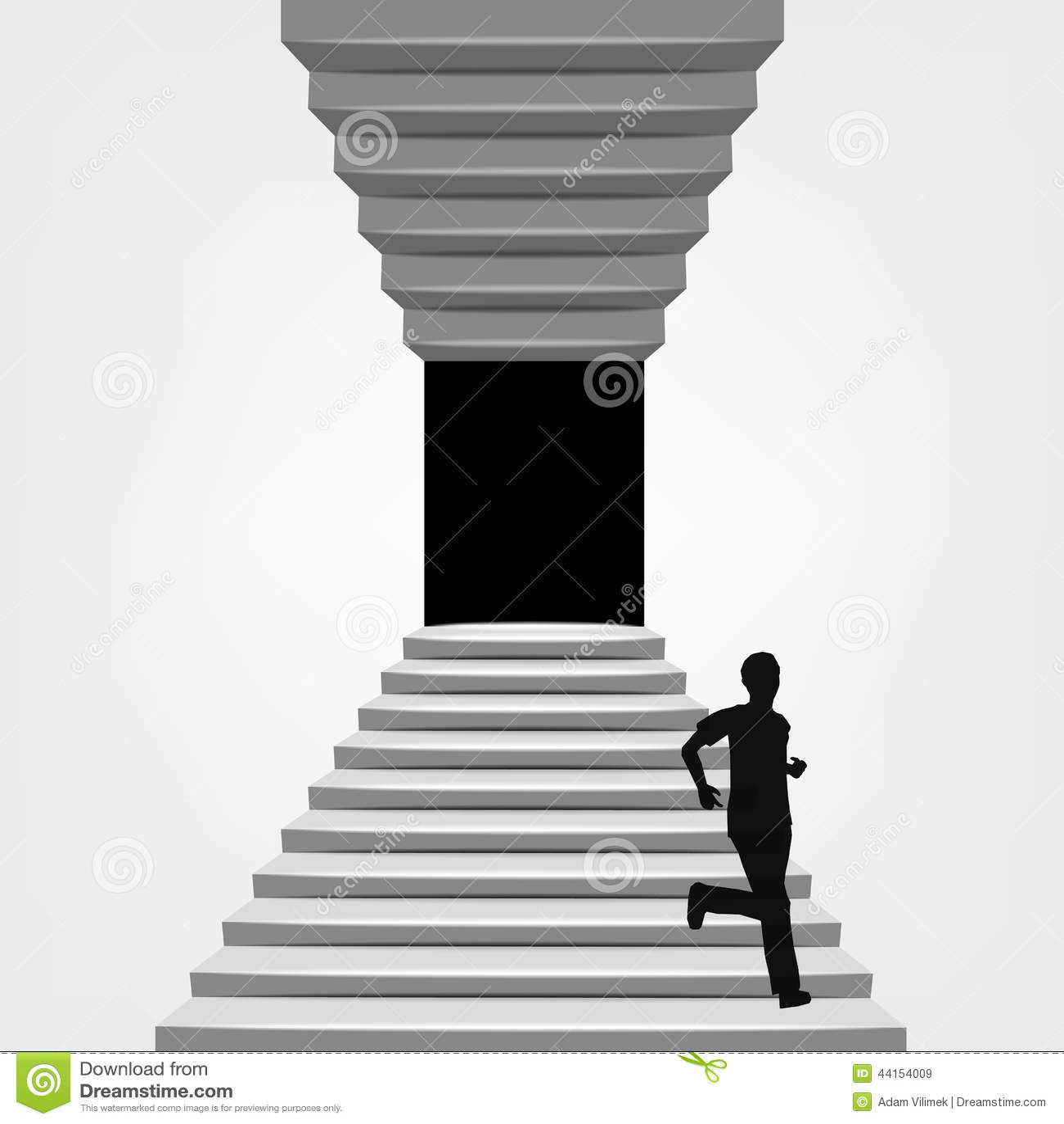 Hombre Que Corre Abajo En Escalera Arriba Y Abajo De Concepto Ilustración Del Vector Ilustración De Concepto Derecho 44154009