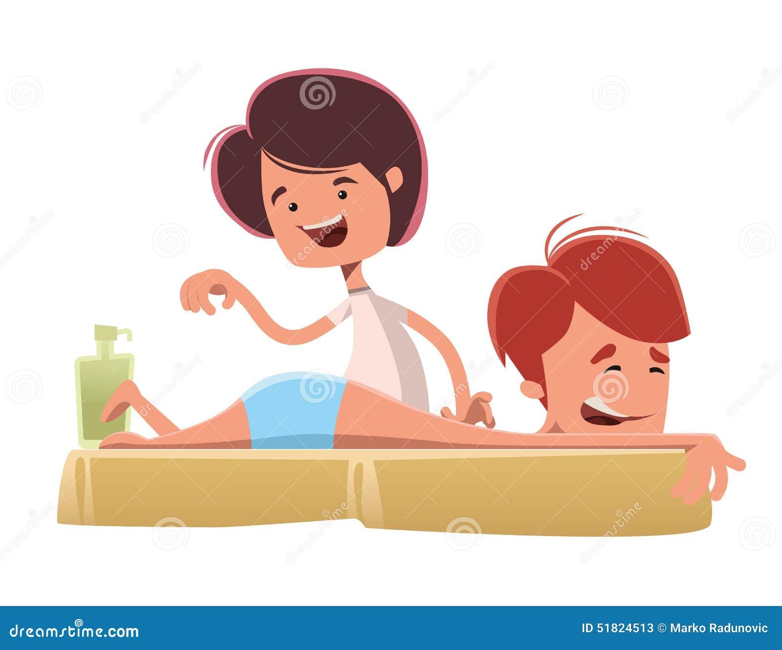 dibujos animados masajes surco