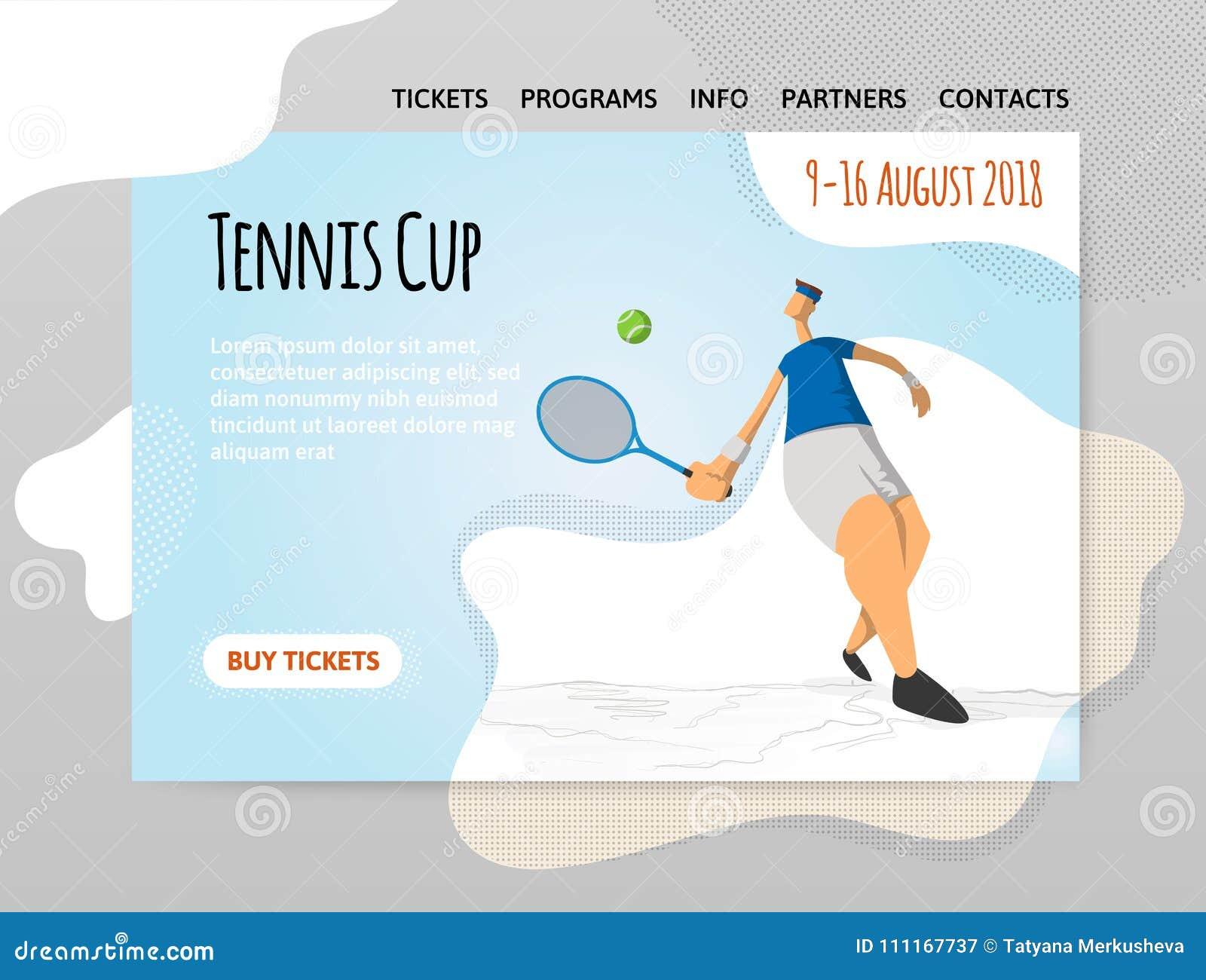 Hombre Que Juega A Tenis Vector El Illutration En Estilo Plano ...