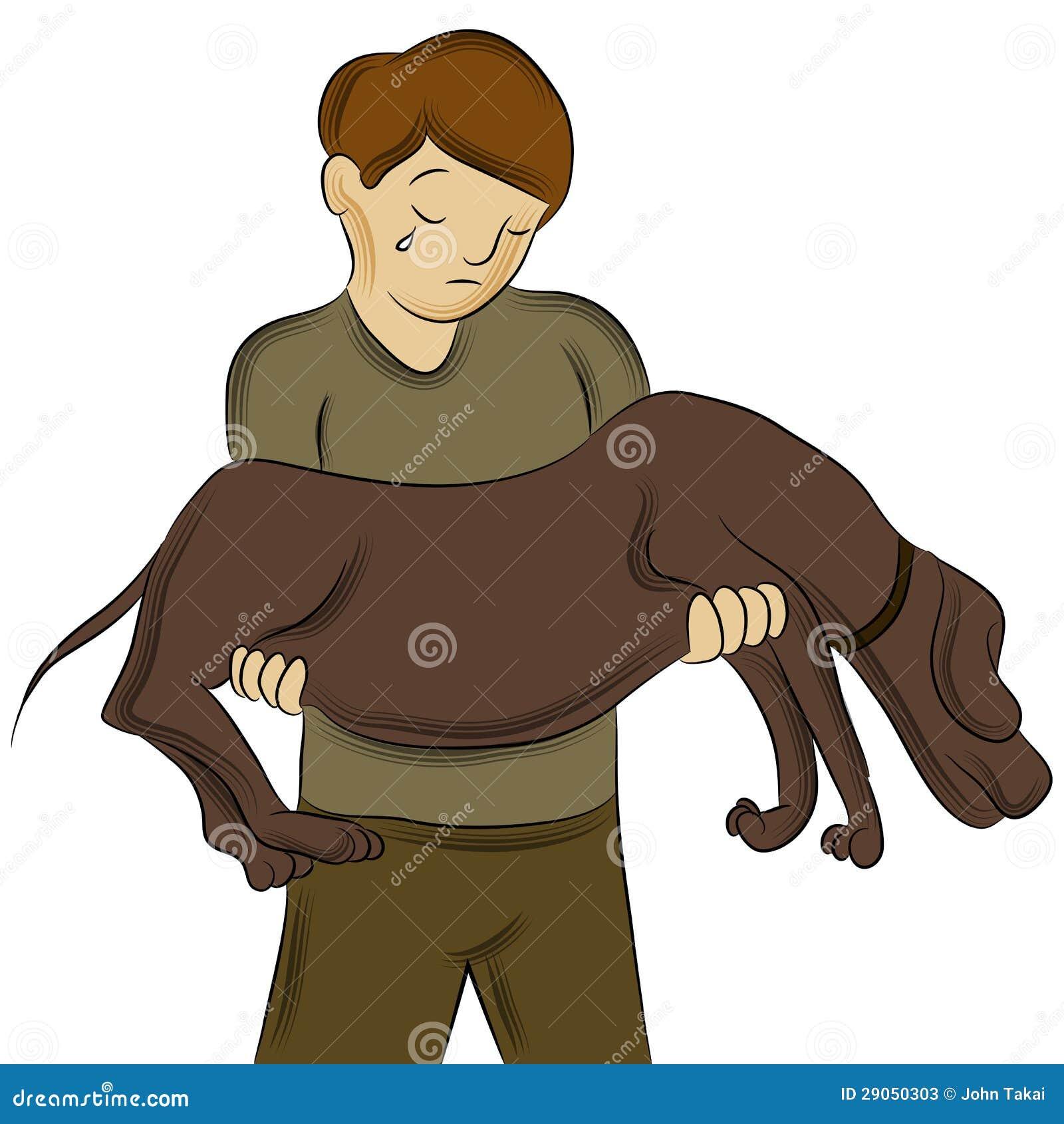 Hombre Que Lleva El Perro Herido Ilustración Del Vector