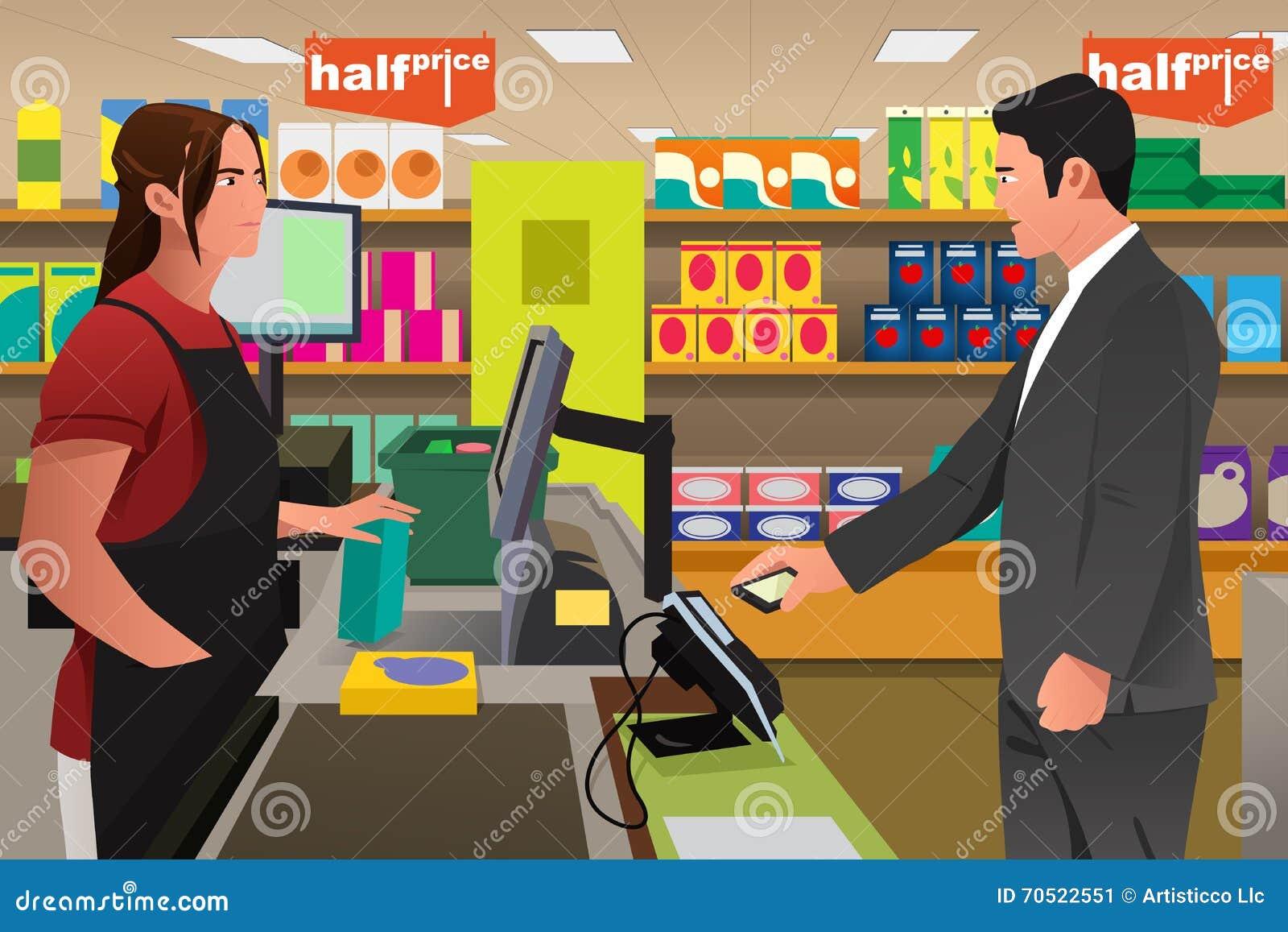 Hombre que paga en el cajero using phone ilustraci n del for Cajeros en el aeropuerto