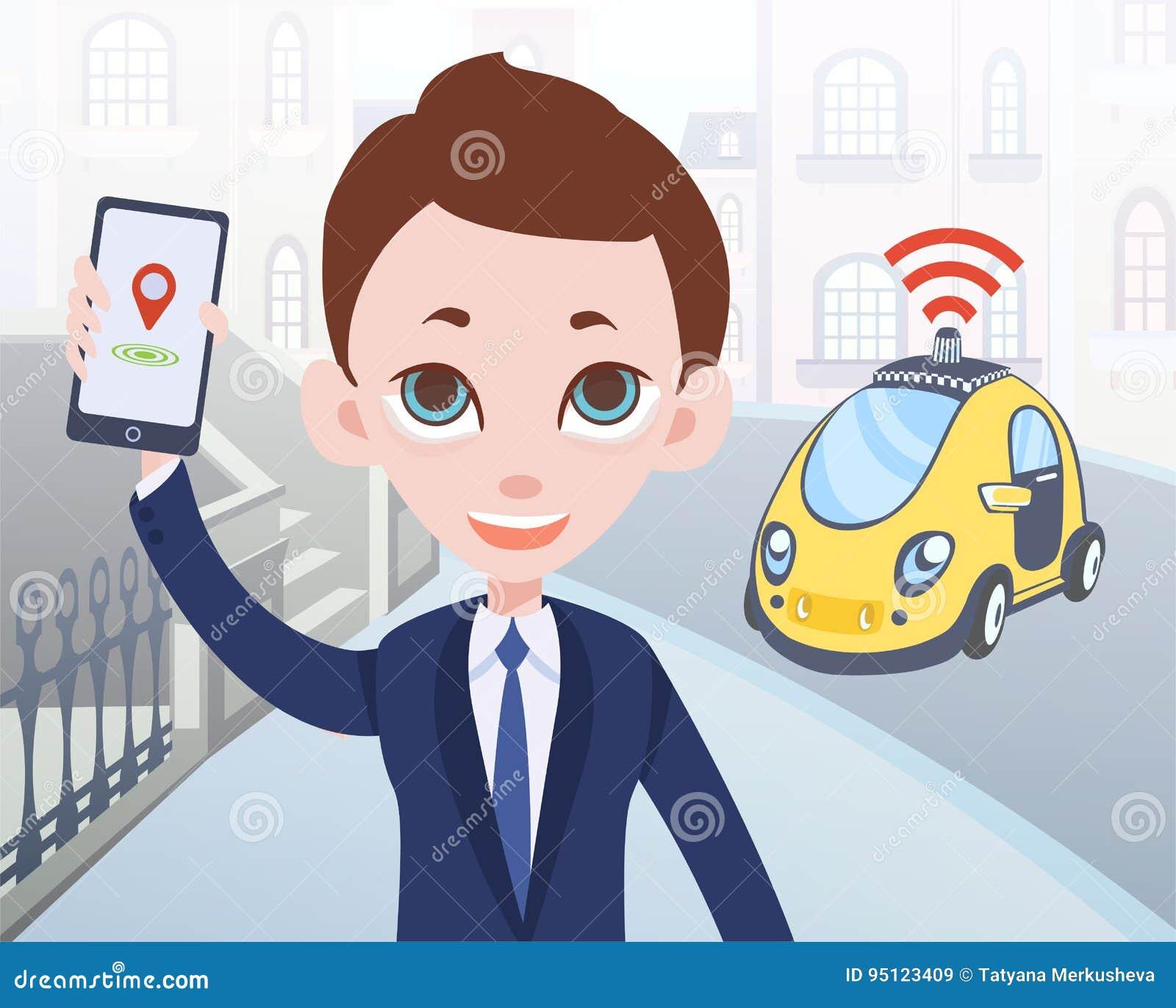 Hombre que pide el taxi driverless usando la aplicación móvil Carácter del hombre de negocios de la historieta con smartphone y c