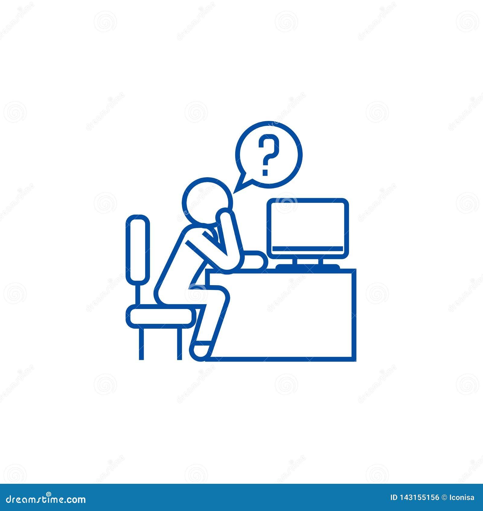 Hombre que piensa en la línea concepto de la oficina del icono Hombre que piensa en el símbolo plano del vector de la oficina, mu