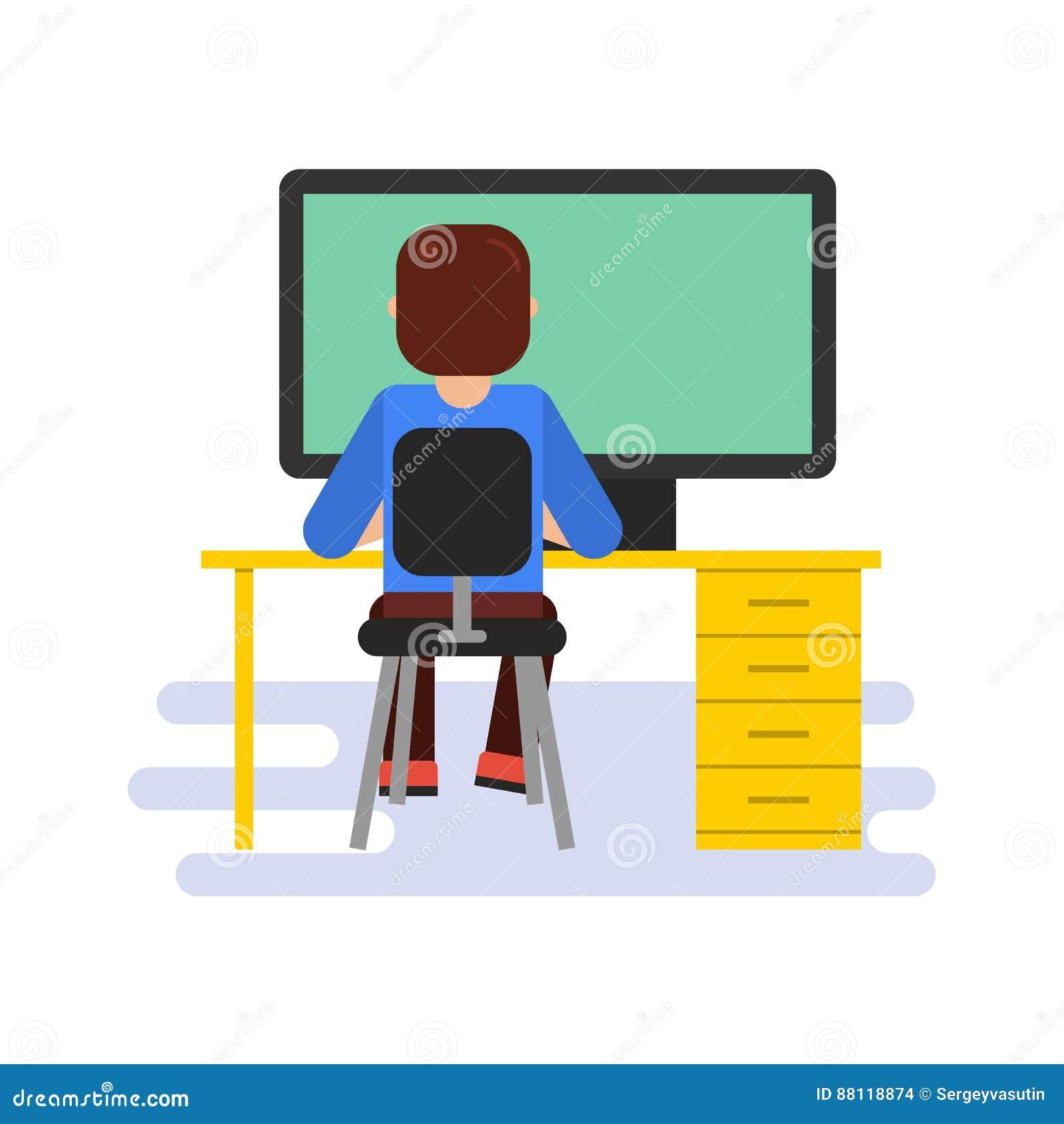 Hombre que trabaja con el ordenador