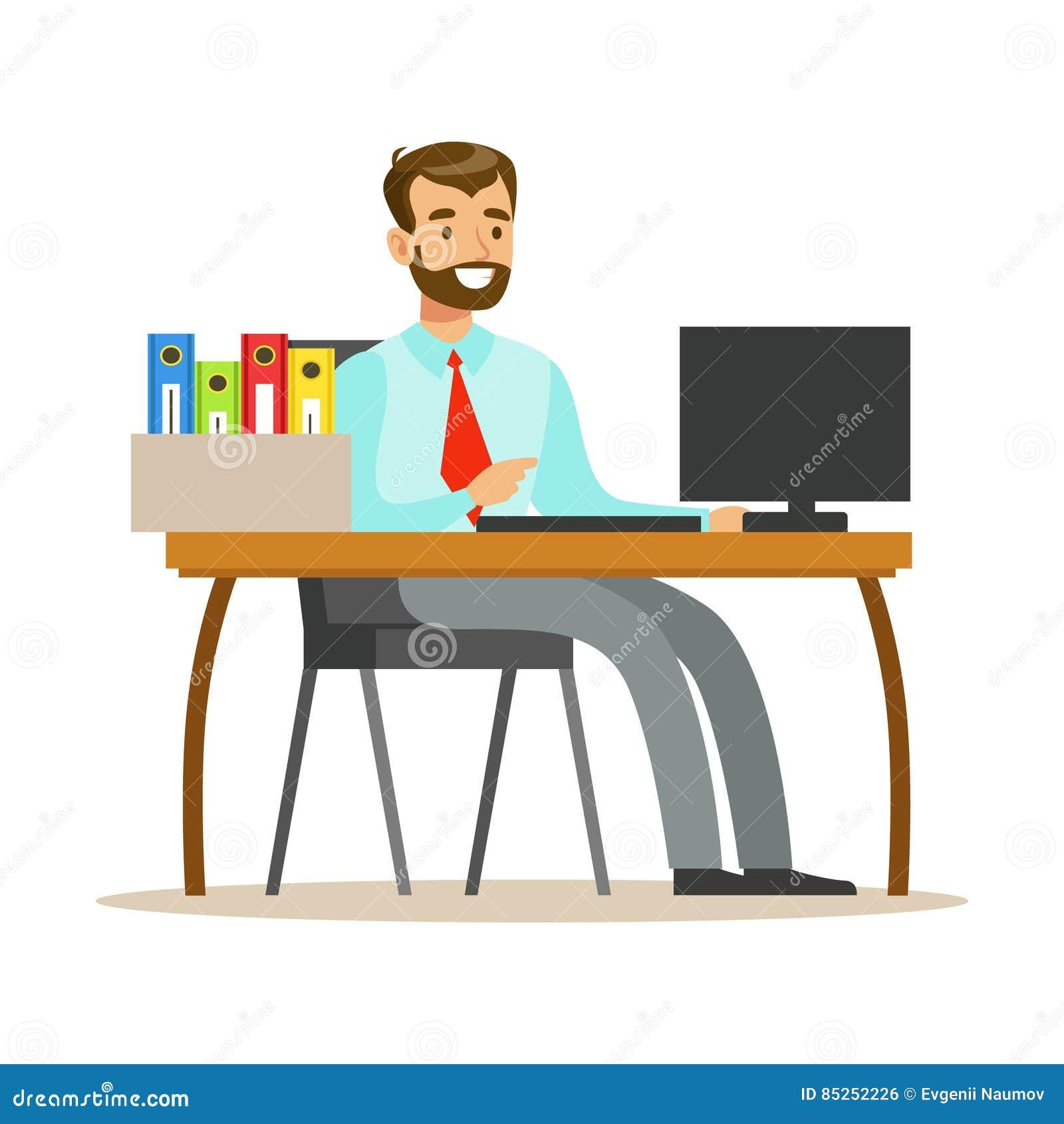 Hombre Que Trabaja En Su Escritorio Con El Ordenador Y Las
