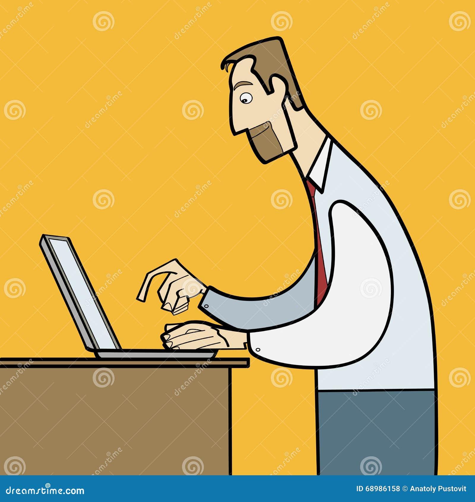 Hombre que trabaja en vector plano del ordenador portátil