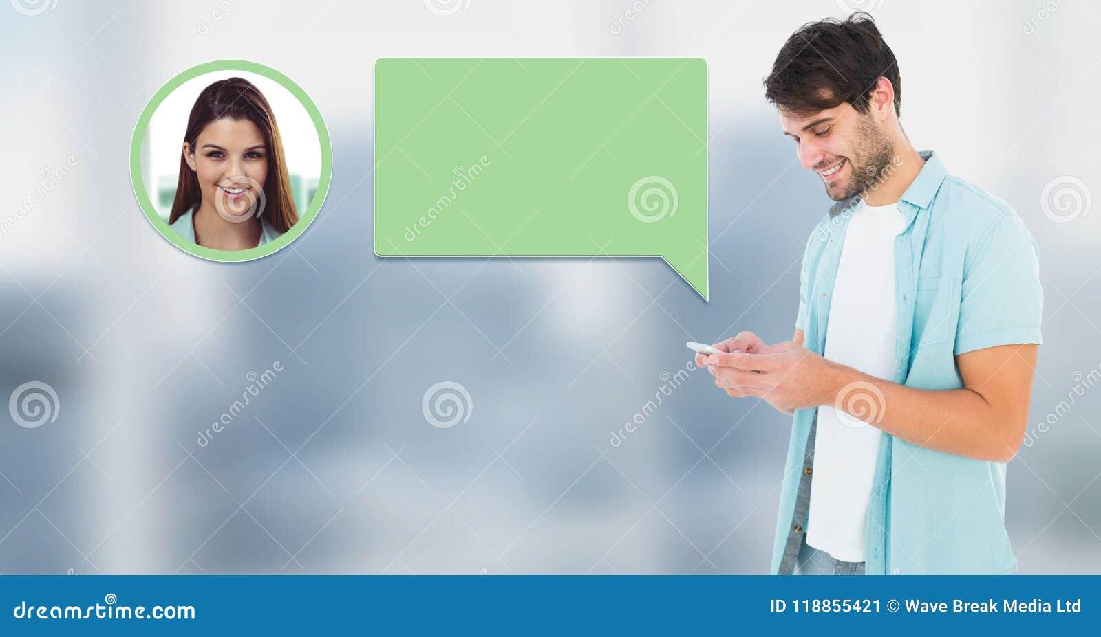 Hombre que usa el teléfono con perfil de la mensajería de la burbuja de la charla