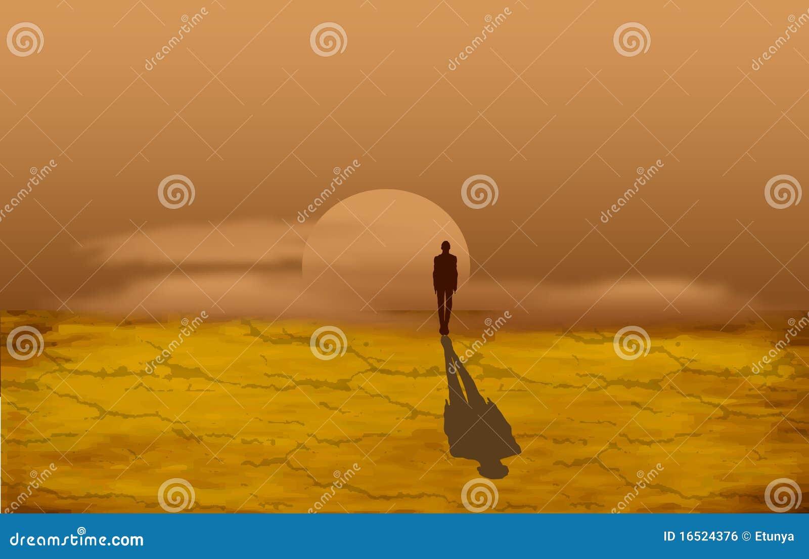 Hombre solo en el desierto