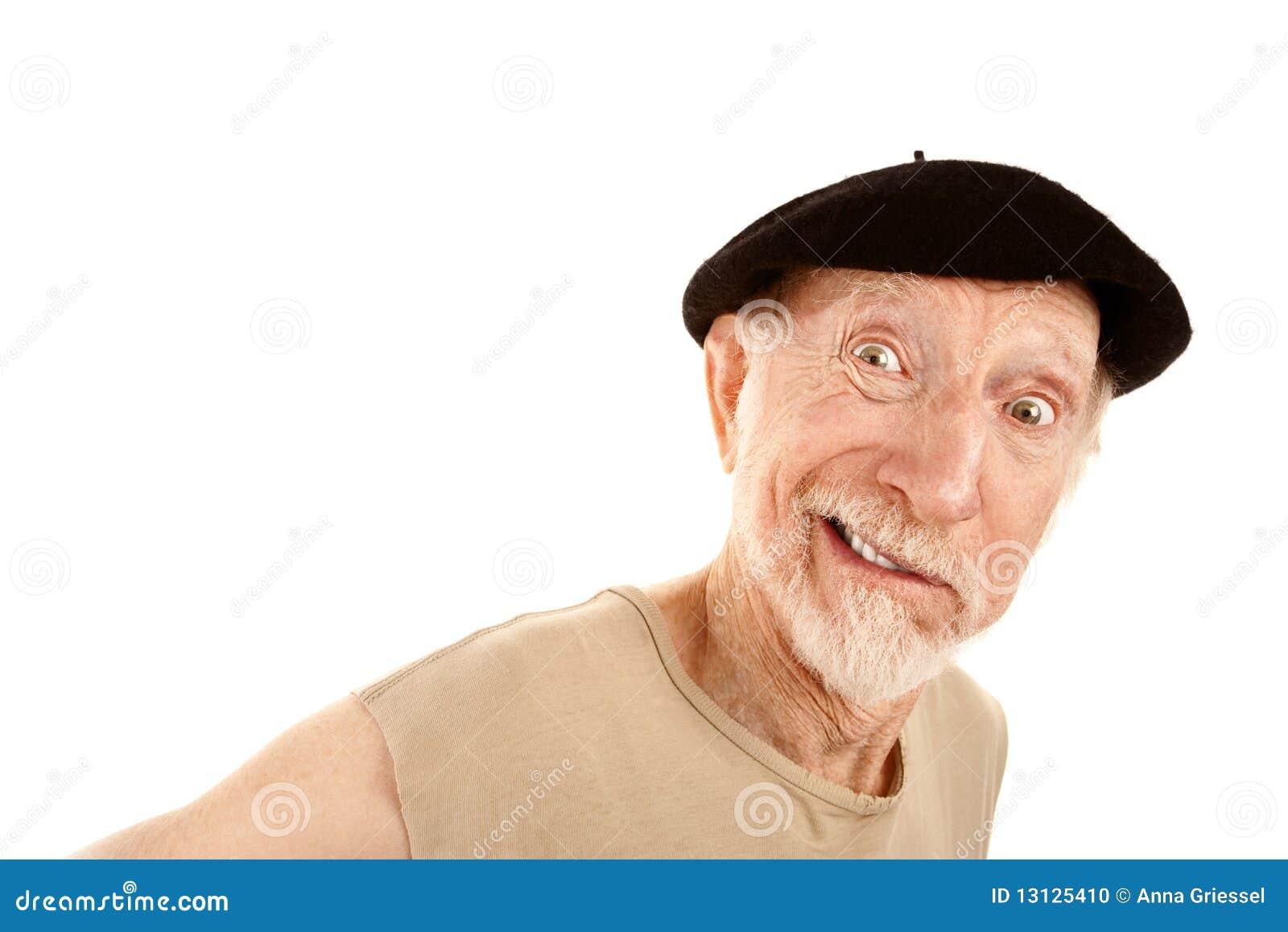 3b622f13215a1 Hombre sonriente en boina foto de archivo. Imagen de carácter - 13125410