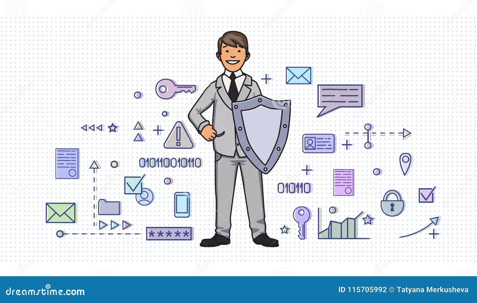 Hombre sonriente en traje de negocios con un escudo entre símbolos digitales y de Internet de la seguridad Protección de datos pe