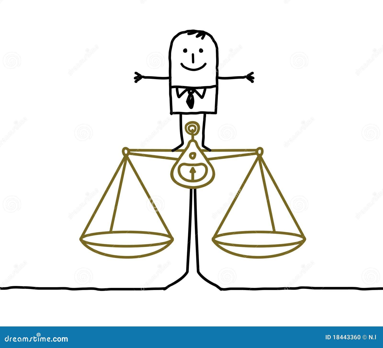 Hombre Y Balance Justicia Ilustracion Del Vector Ilustracion De
