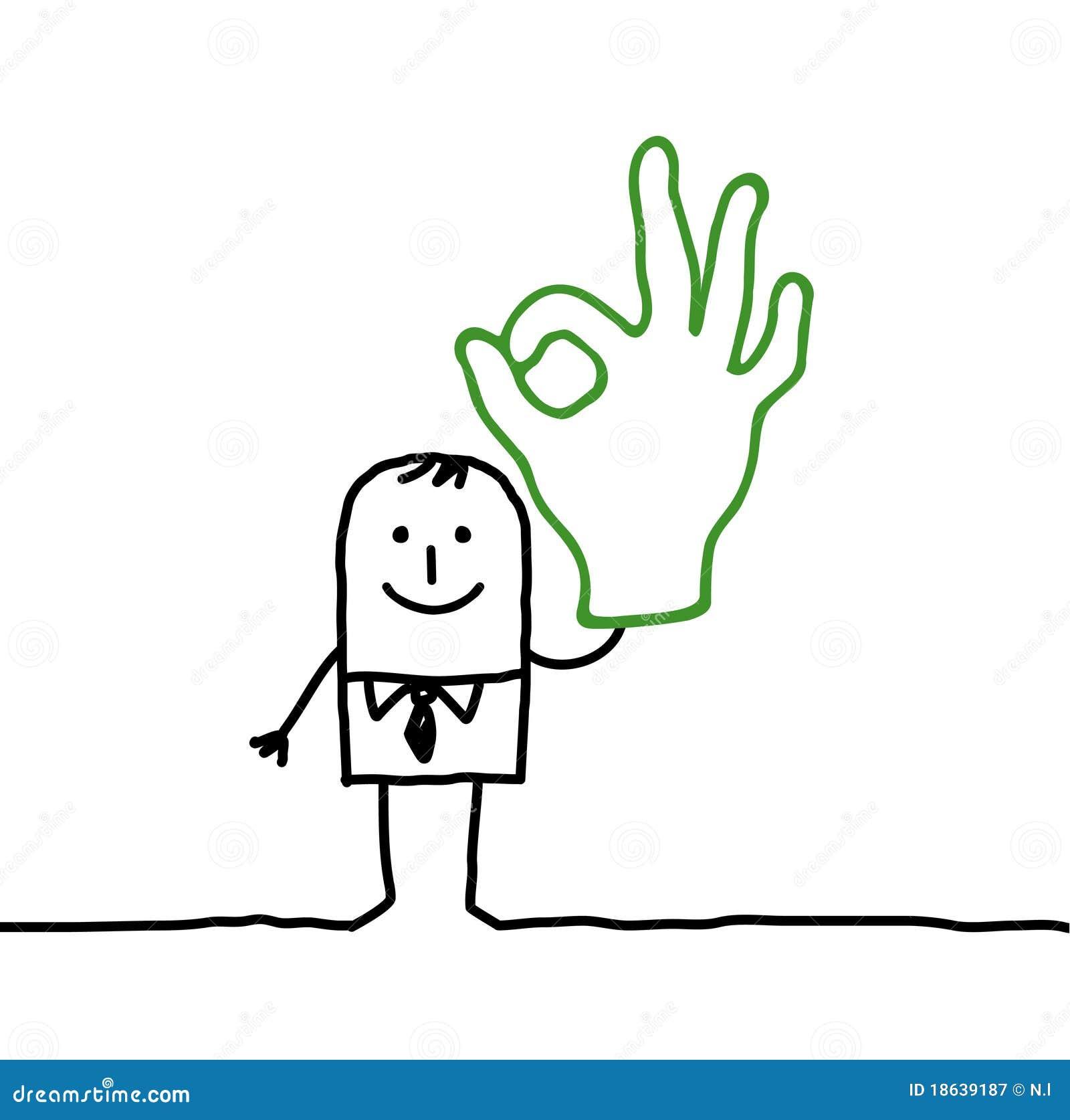Hombre y muestra ACEPTABLE de la mano