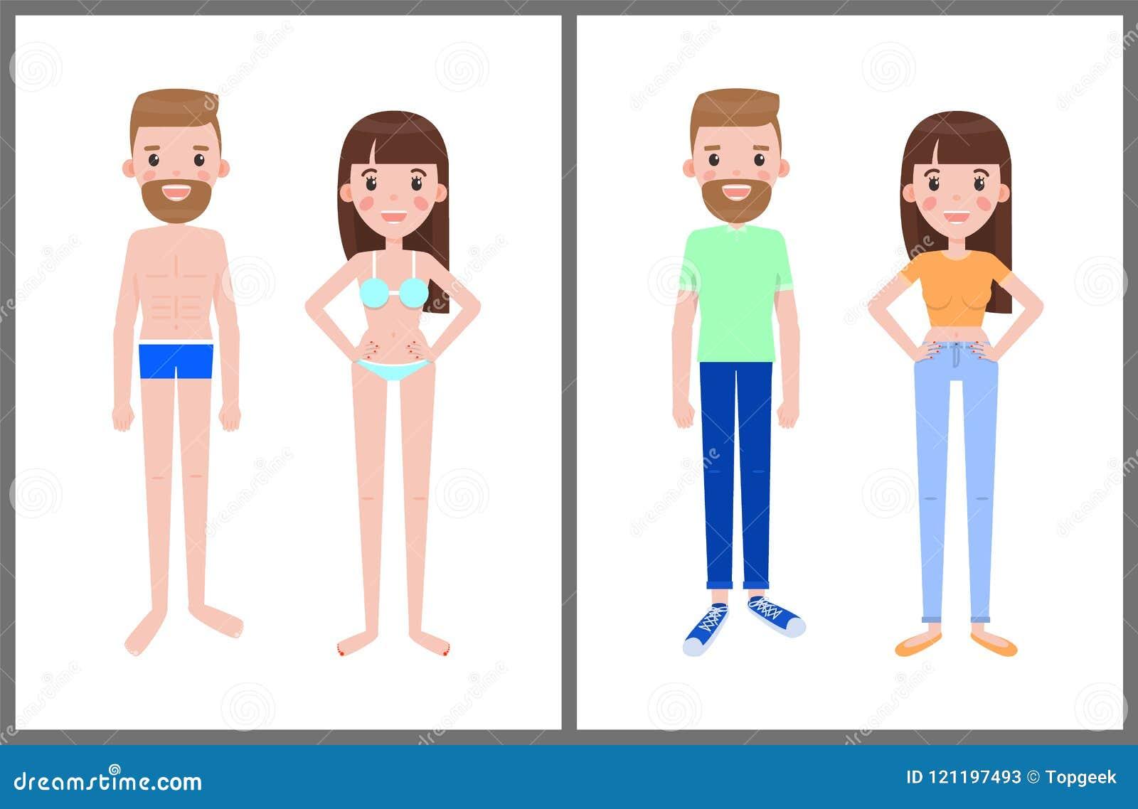 Hombre Del Y De Mujer Ropa Trajes En Ilustración Verano Baño D2EW9IH