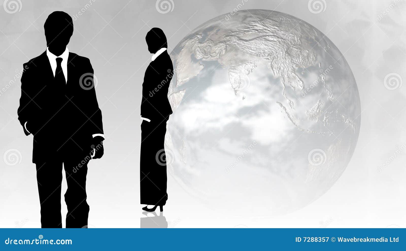 Hombre y mujer que muestran trabajo en equipo en concepto de los busines