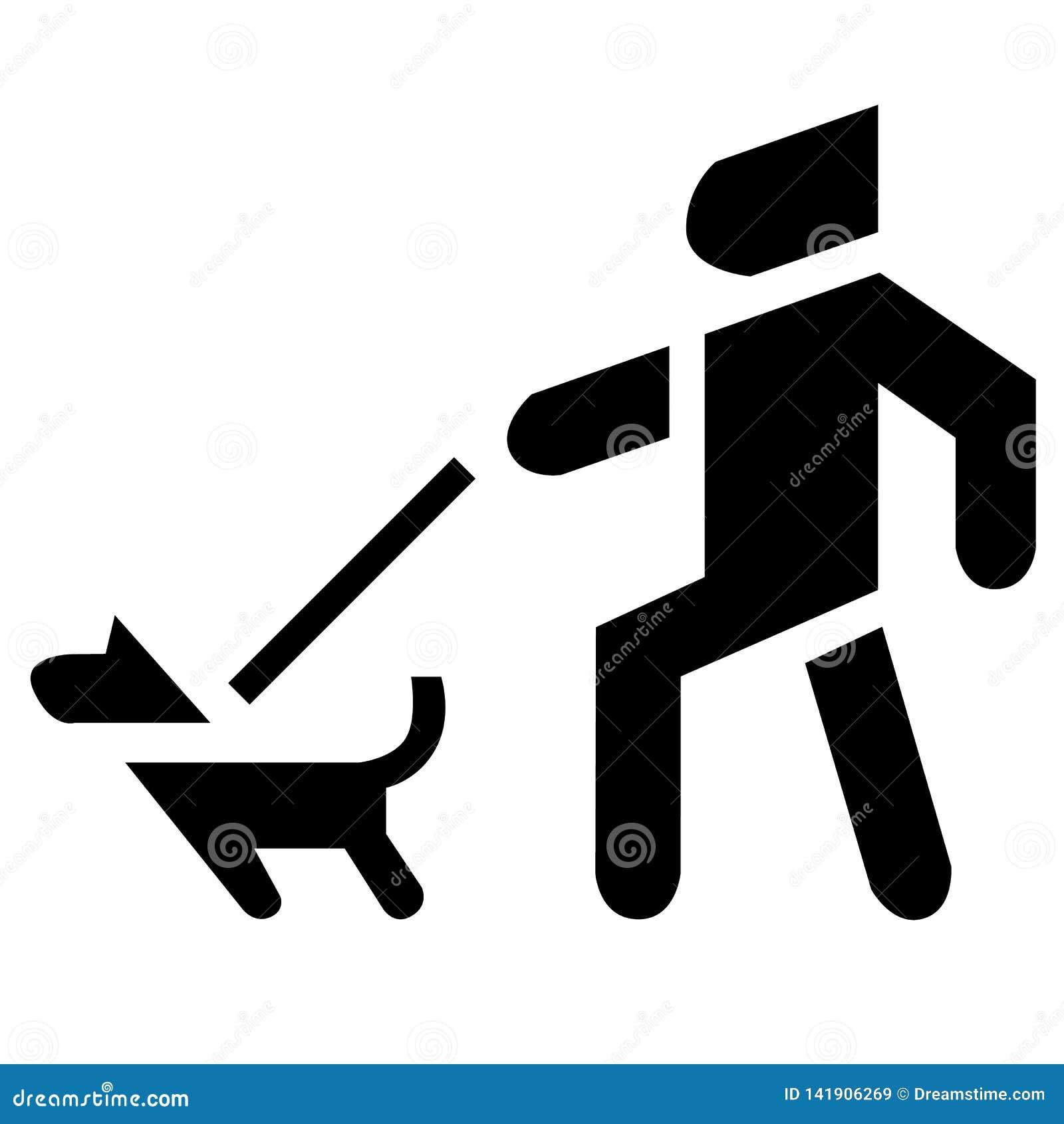 Hombre y perro en silueta Icono enojado del animal doméstico
