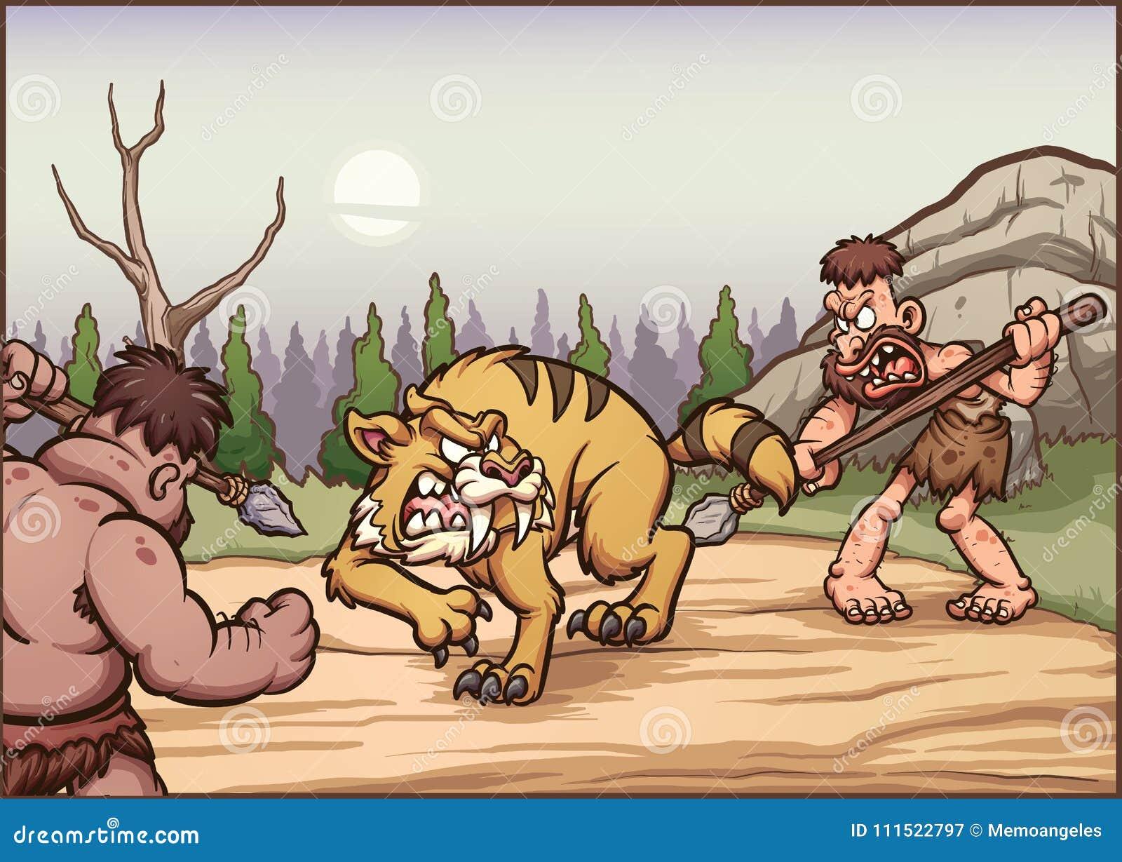 Hombres de las cavernas de la historieta que cazan un diente del sable
