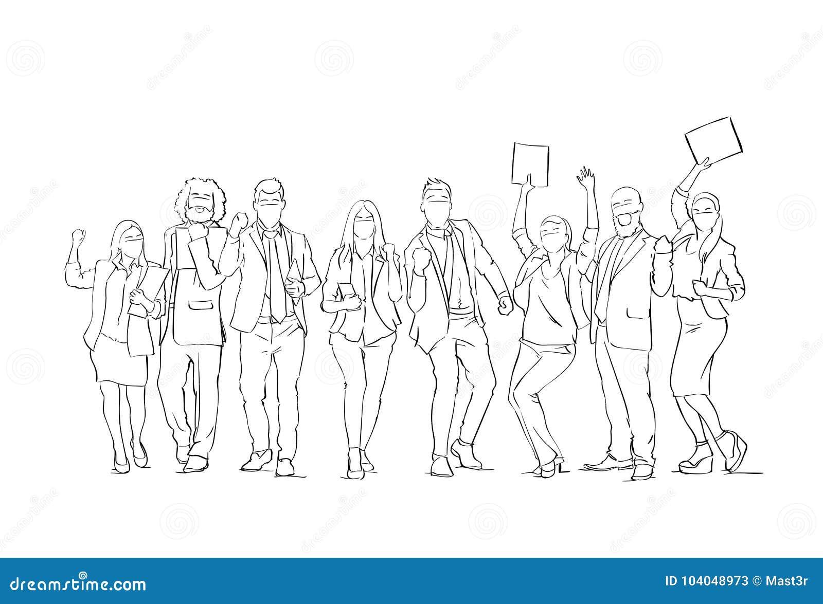 Hombres de negocios alegres del grupo de la silueta del bosquejo de los empresarios de Team With Raised Hands On del fondo feliz