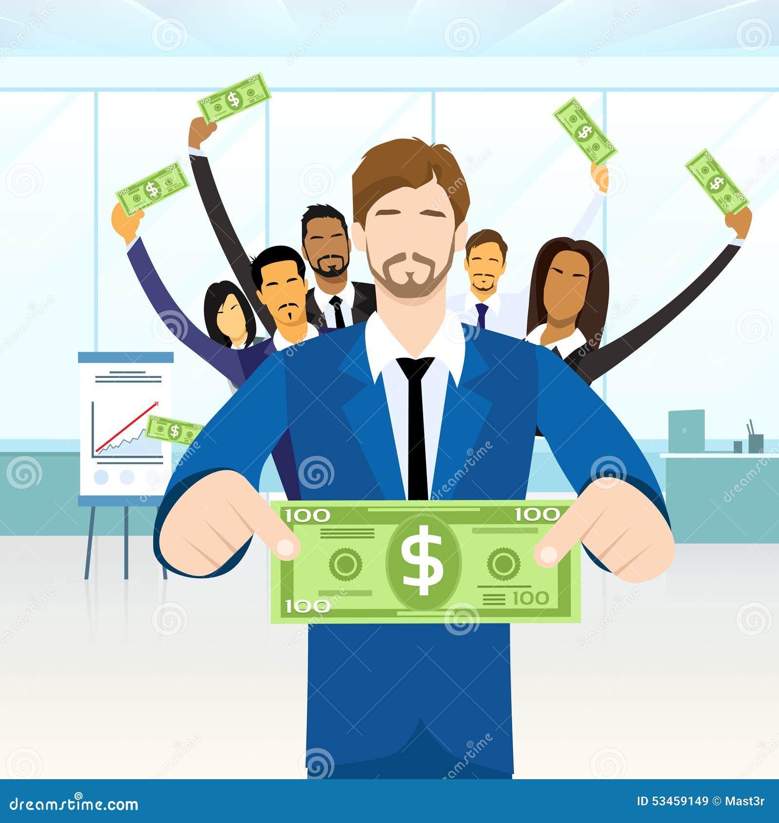 Hombres de negocios del control del grupo cientos dólares
