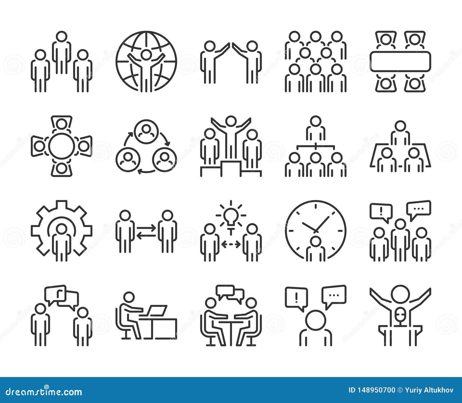 Hombres de negocios del icono Los hombres de negocios alinean el sistema del icono Movimiento Editable, pixel 64x64 perfecto
