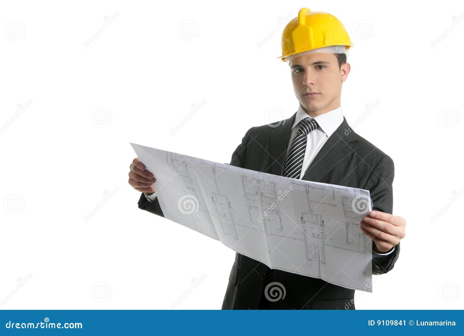 Hombres de negocios ejecutivos del arquitecto con planes for Todo para el arquitecto