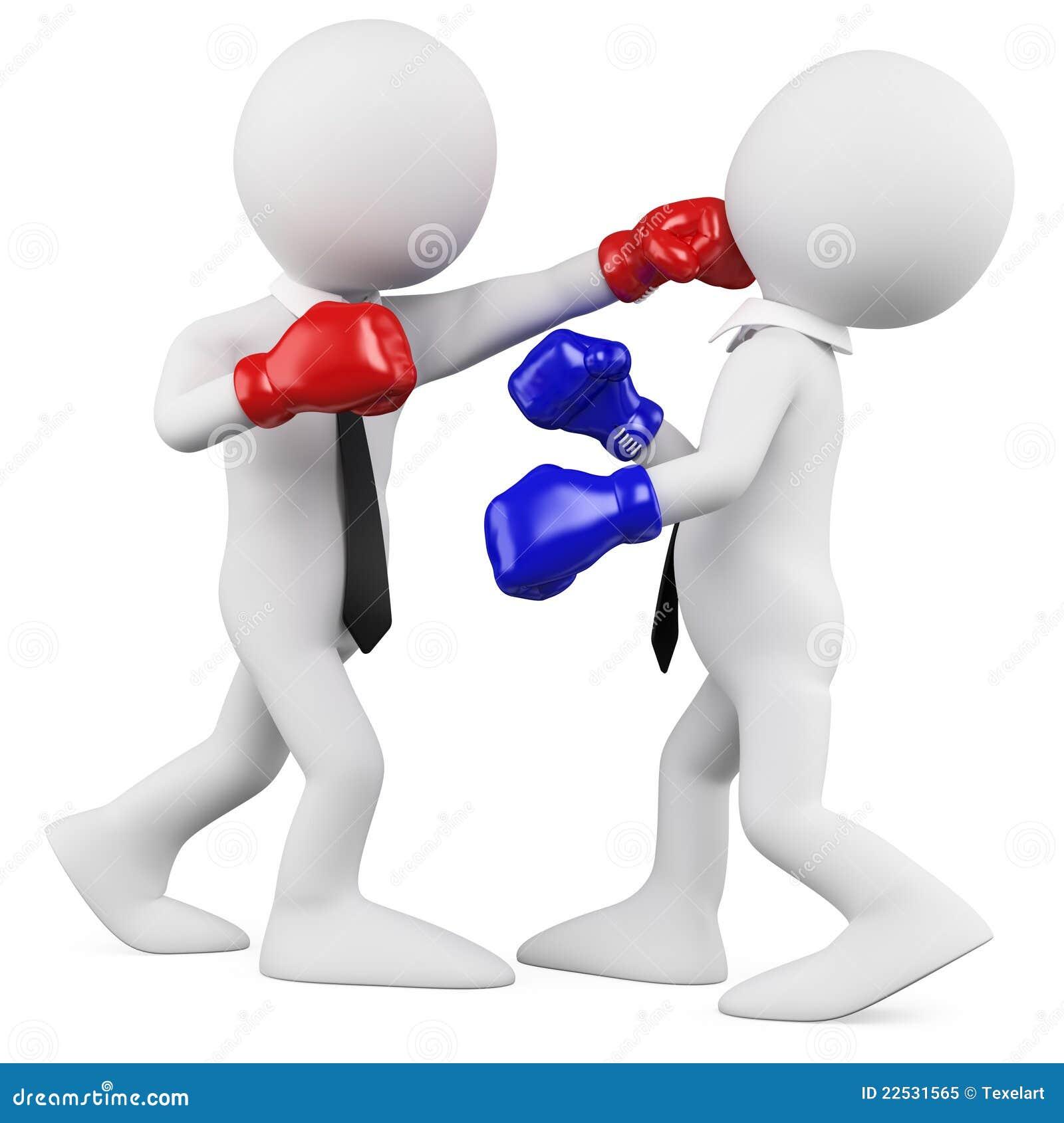 Hombres de negocios en un combate de boxeo