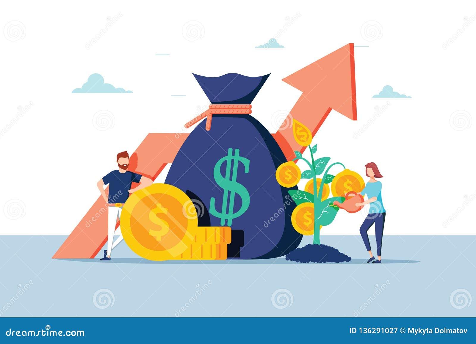 Hombres de negocios financieros de la inversión que aumentan el capital y beneficios Riqueza y ahorros con los caracteres Dinero