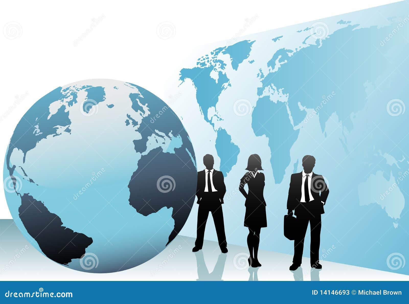 Hombres de negocios internacionales de mundo del globo de la correspondencia