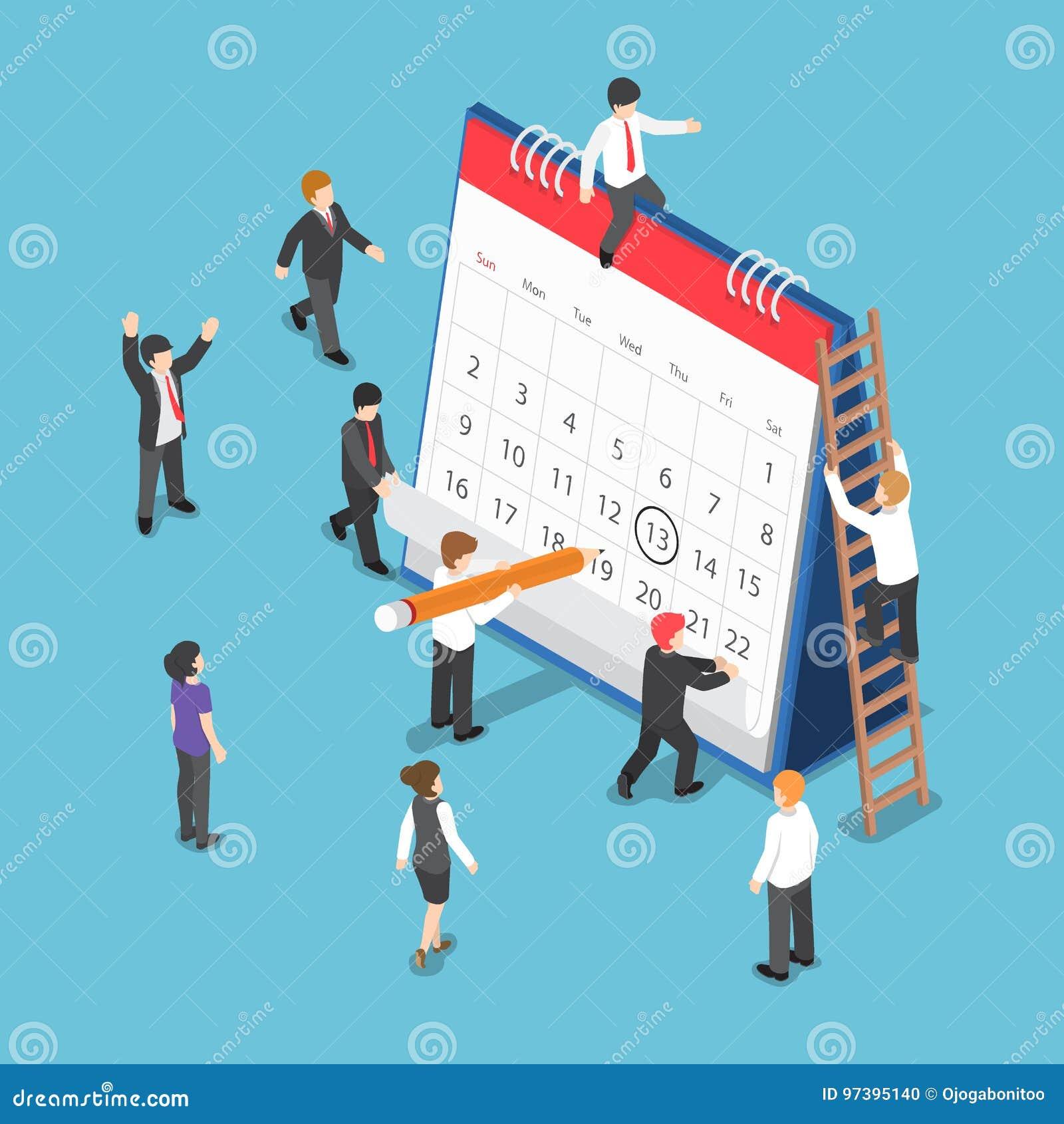 Hombres de negocios isométricos de la operación del Scheduling en calendario de escritorio