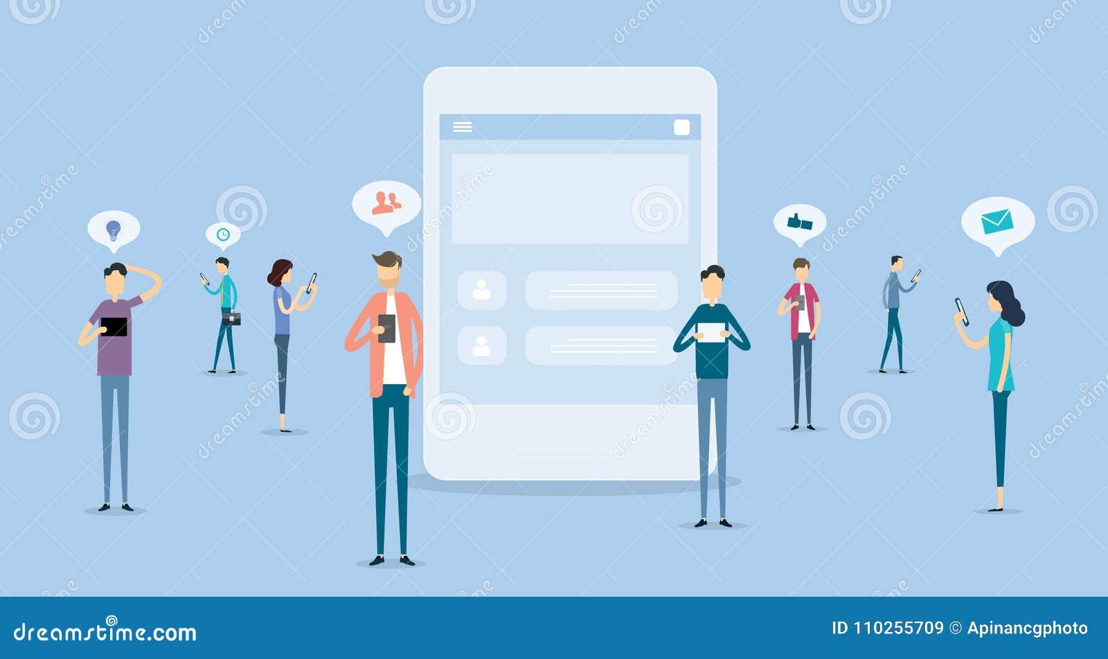 Hombres de negocios de la comunicación sobre concepto social de la red