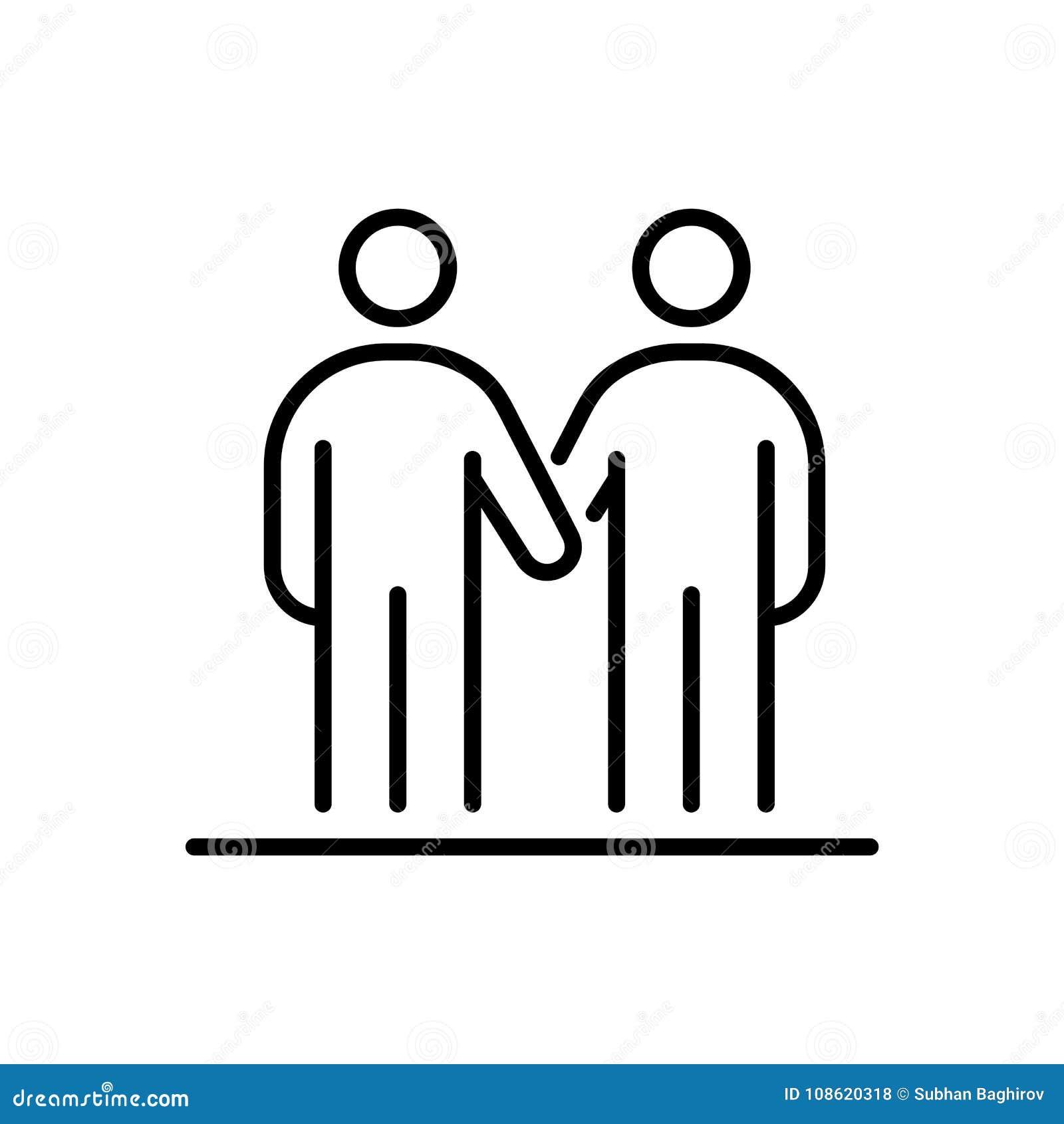 Hombres de negocios de la línea simple ejemplo plano del icono del apretón de manos de los amigos
