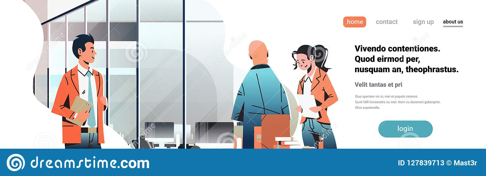 Hombres de negocios que comunican el personaje de dibujos animados hembra-varón coworking moderno del lugar de trabajo creativo i