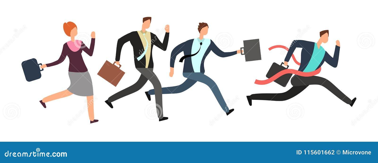Hombres de negocios que corren con la meta de la travesía del líder Concepto del vector del trabajo en equipo y de la dirección
