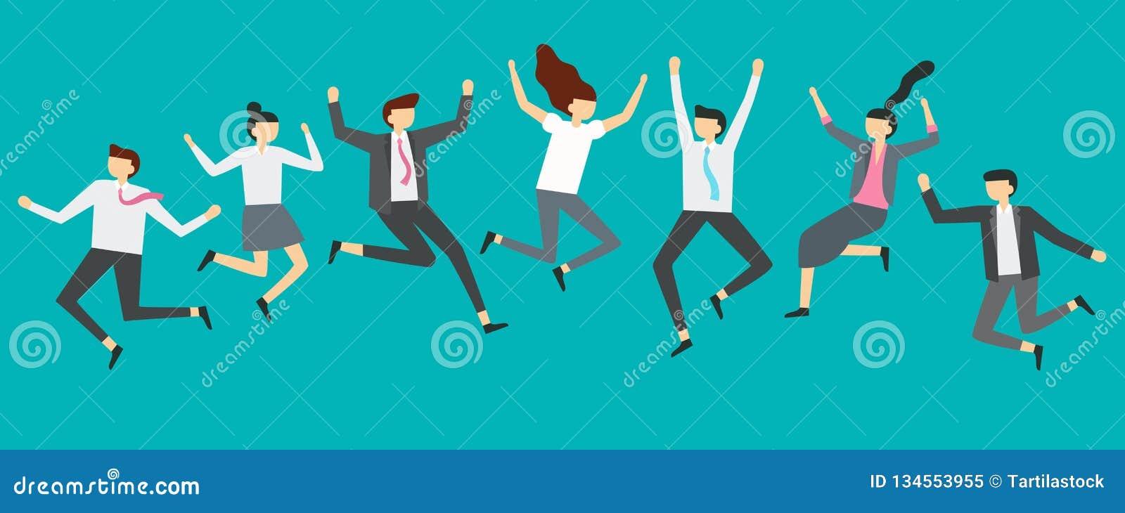 Hombres de negocios de salto felices Los trabajadores emocionados del equipo de la oficina que saltan en el partido de los emplea