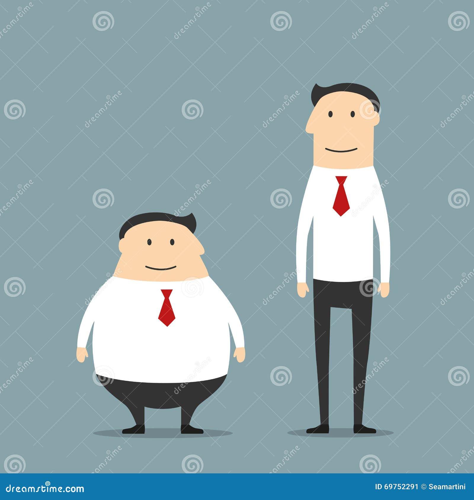 Hombres De Negocios Sonrientes Gordos Y Flacos Ilustración