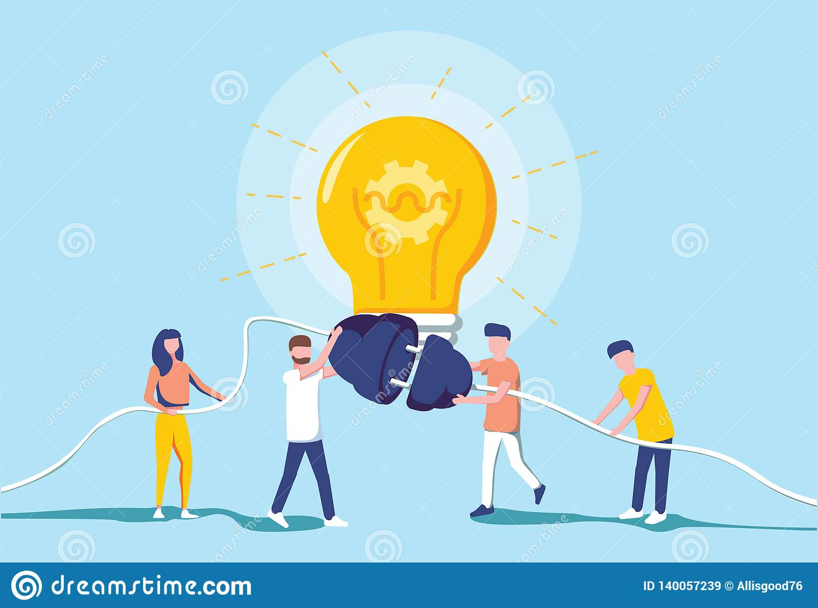 Hombres de negocios y generación de la energía eléctrica para un bulbo grande Generación de la idea Cooperación del intercambio d