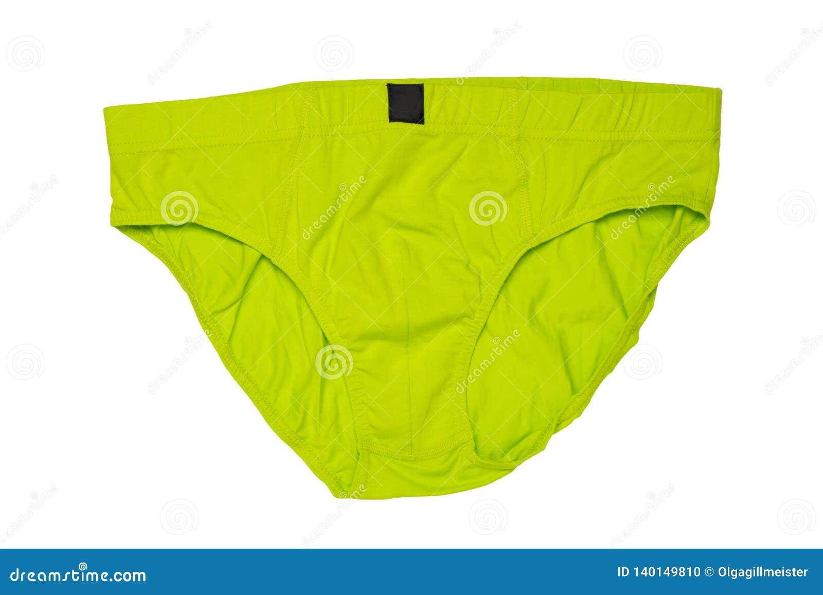 Hombres de Underware aislados Primer del underware masculino verde o calzoncillos aislados en un fondo blanco Ropa para el hombre