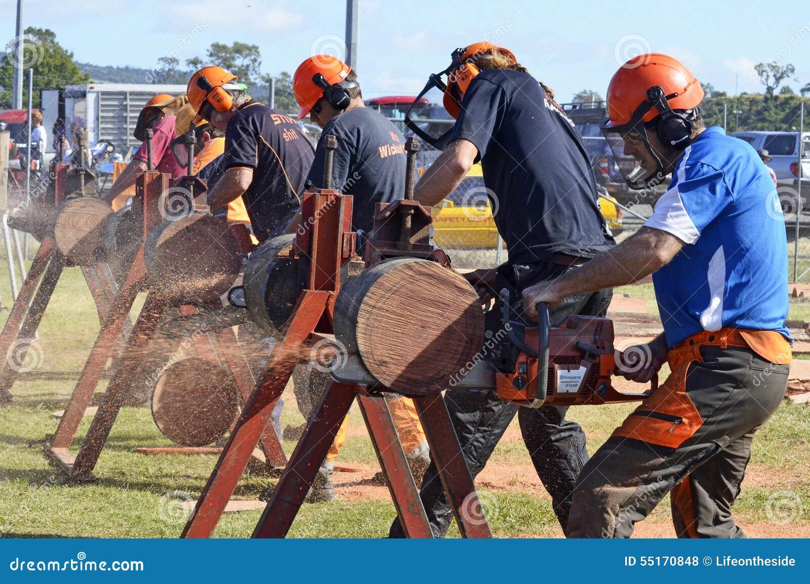 Hombres duros que demuestran registros chainsawing en la feria del país
