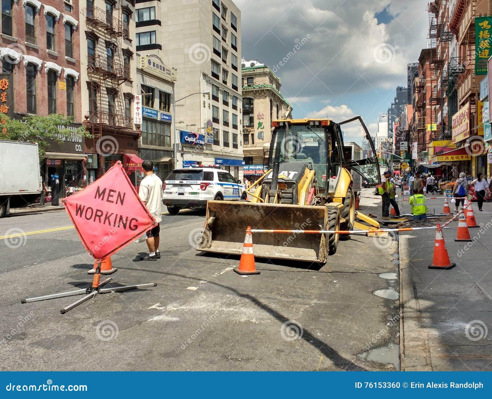 Hombres en el trabajo en New York City, Nueva York, los E.E.U.U.
