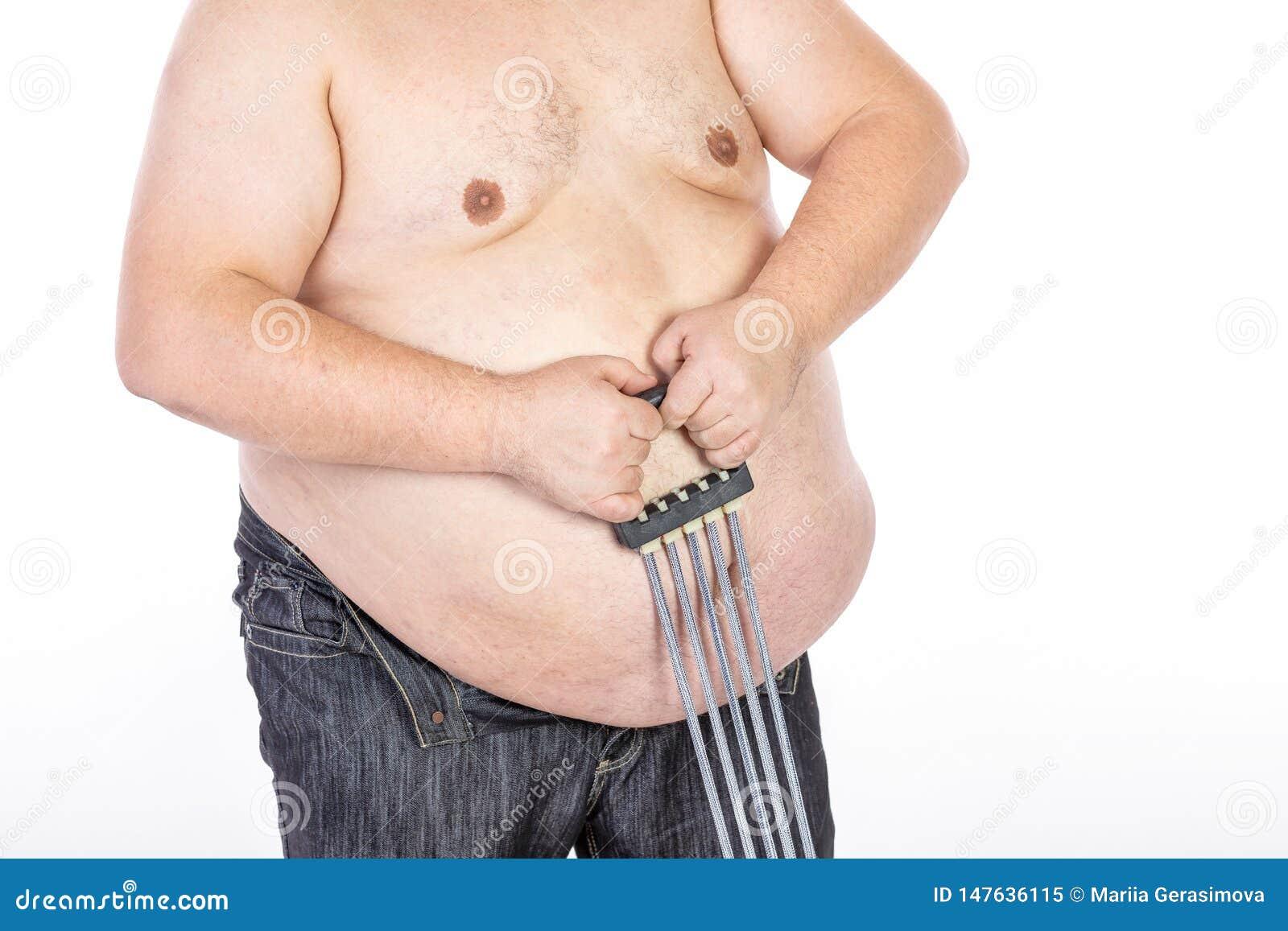 Hombres grandes del vientre antes de la dieta y de la aptitud