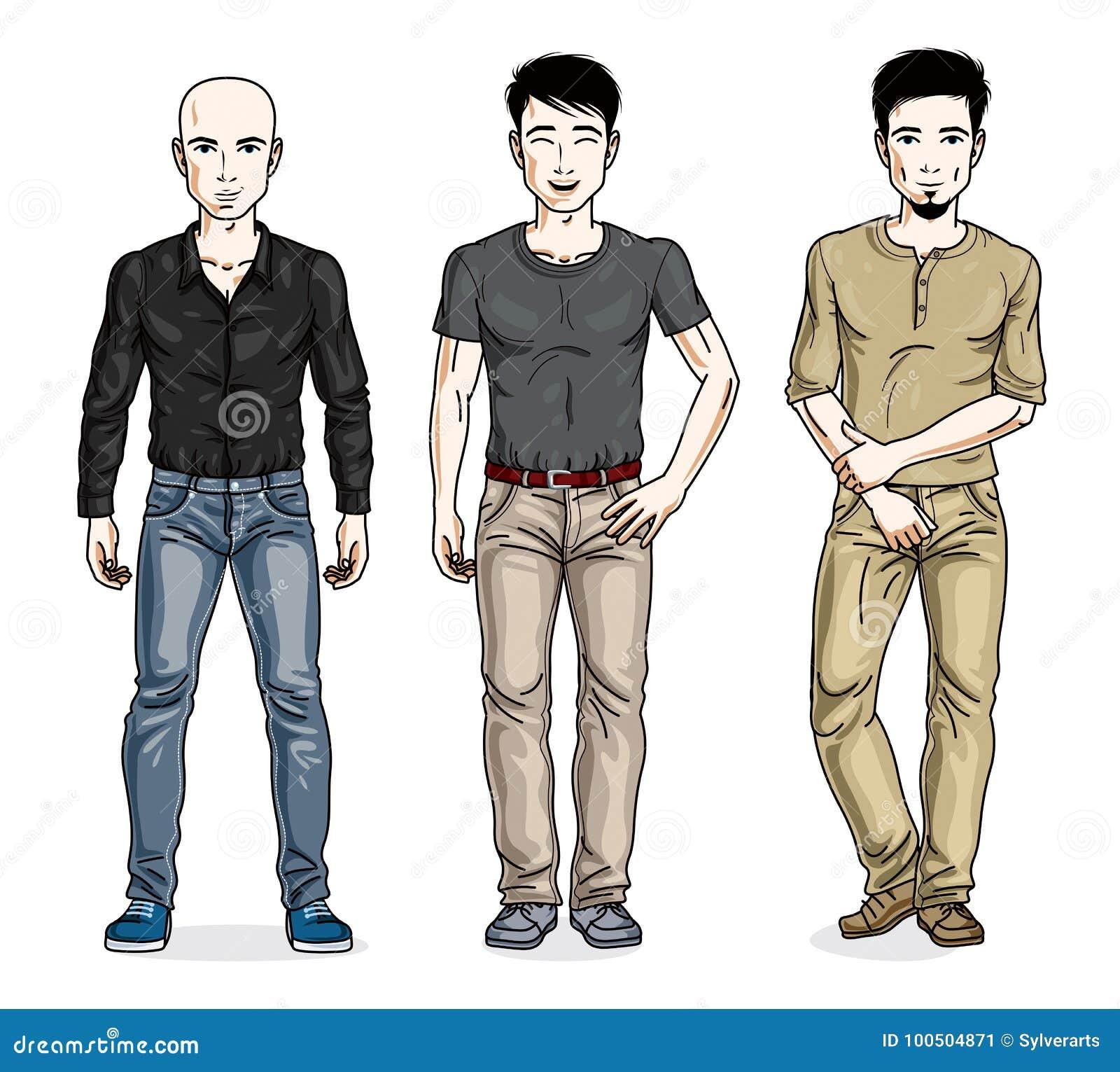 Hombres hermosos que presentan en ropa casual elegante Ejemplos diversos de  la gente del vector fijados Caracteres masculinos del tema de la forma de  vida 1b83d7537c0