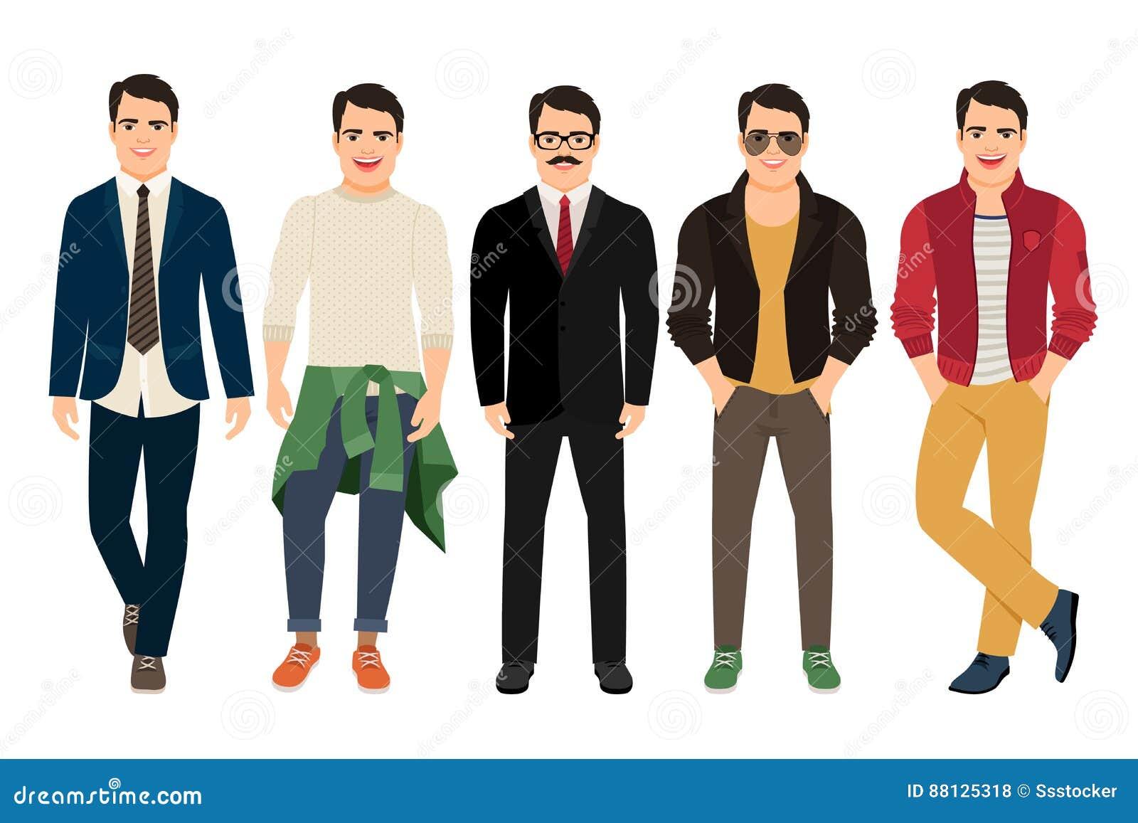 deeee70bc118d Hombres Jovenes En Diversa Ropa Masculina Ilustración del Vector ...