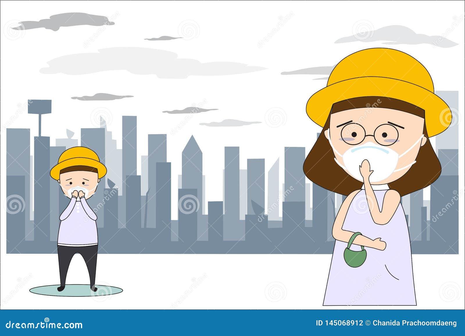 Hombres y m?scaras de la ropa de mujer para prevenir la contaminaci?n atmosf?rica en la ciudad Por ejemplo el polvo, el humo y el