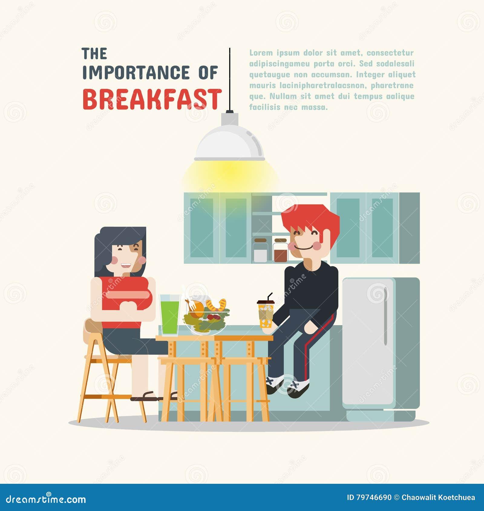 Hombres y mujeres que comen el desayuno en la cocina