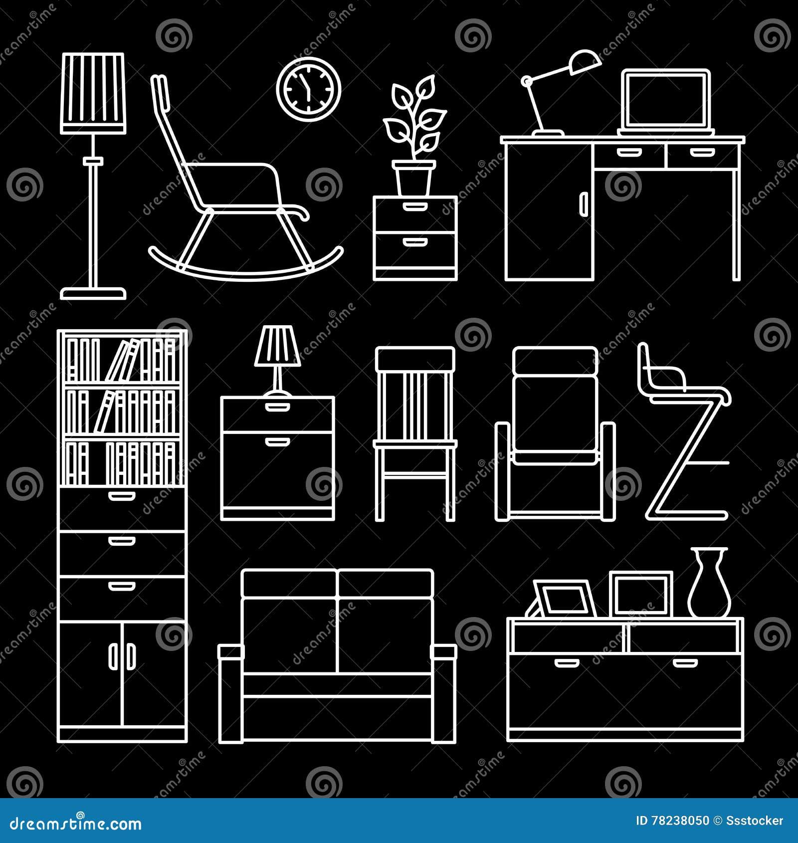 Home accessories and furniture icons stock vector for Mobili stilizzati