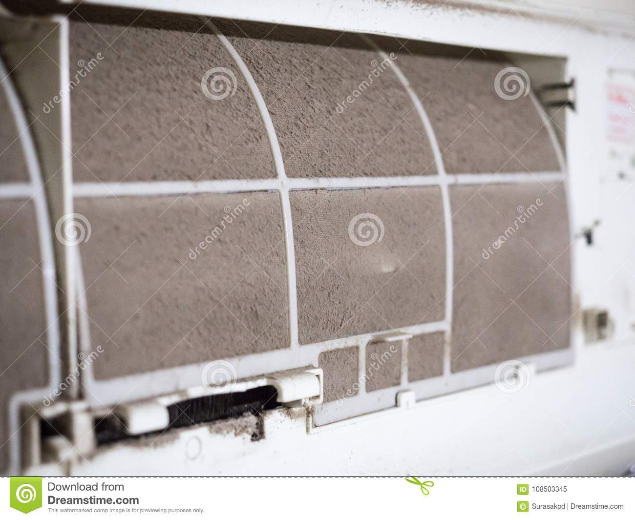 Home air conditioner`s filter choke with fully of dust, dirty fi