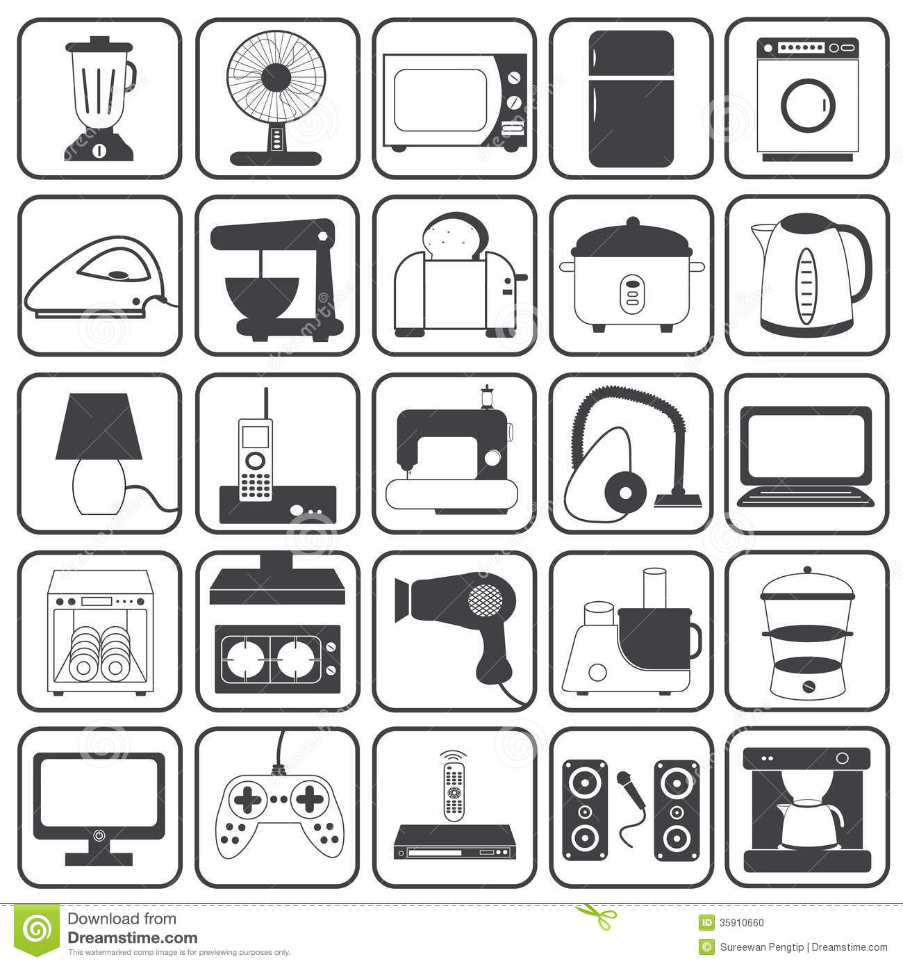 home appliance icons vector set stock photo image 35910660. Black Bedroom Furniture Sets. Home Design Ideas
